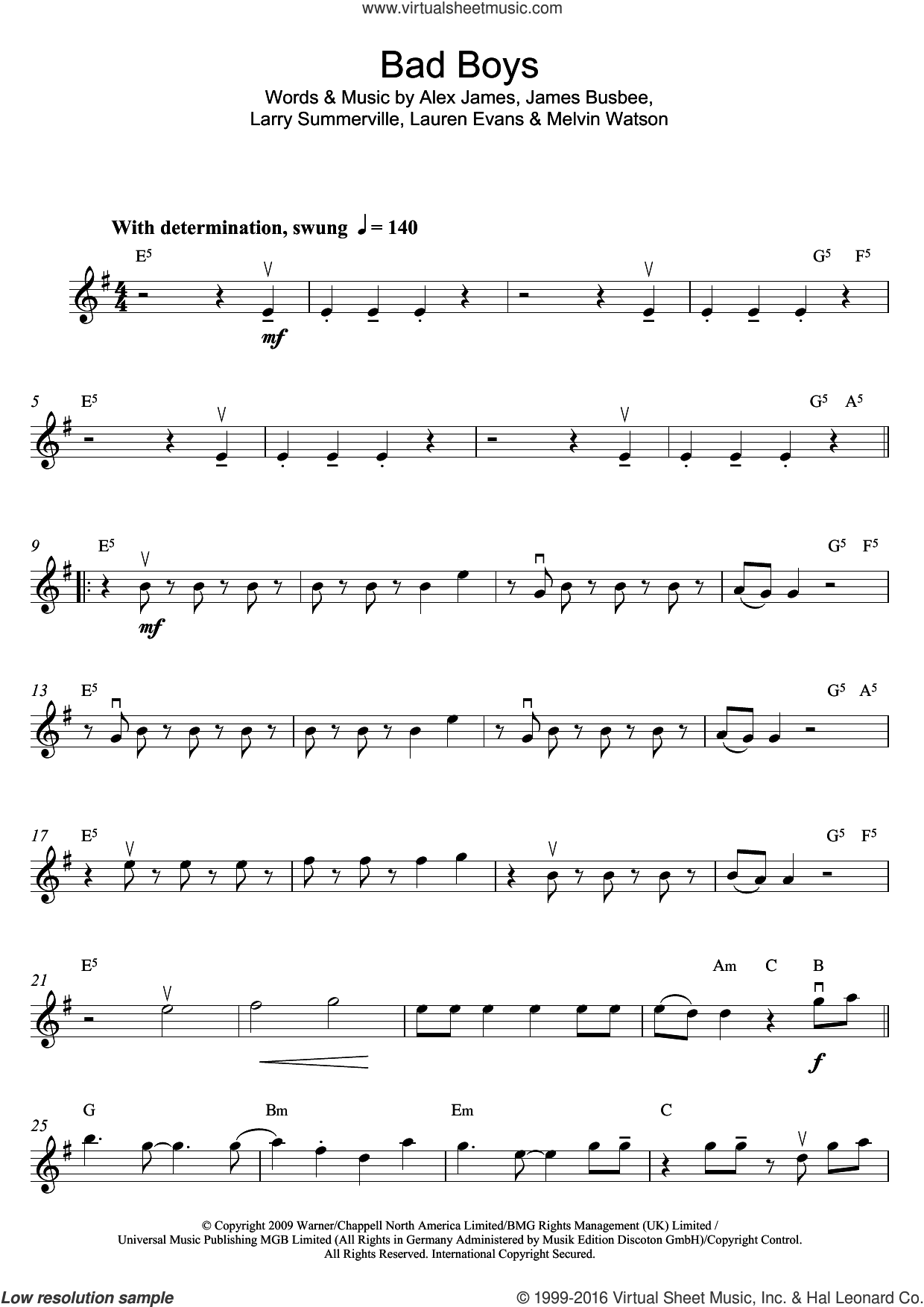 Bad Boys sheet music for violin solo by Alexandra Burke, Alex James, James Busbee, Larry Summerville, Lauren Evans and Melvin Watson, intermediate