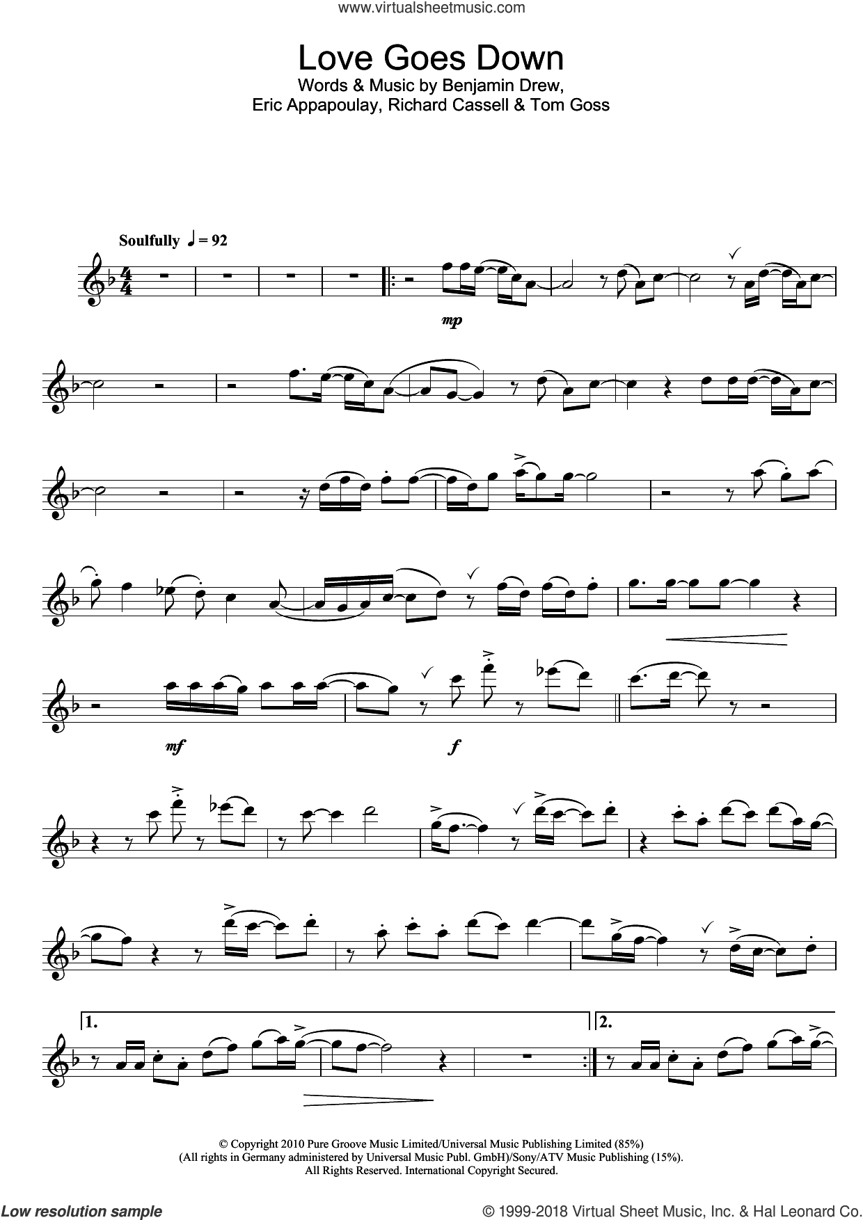 Love Goes Down sheet music for flute solo by Plan B, Ben Drew, Eric Appapoulay, Richard Cassell and Tom Goss, intermediate skill level