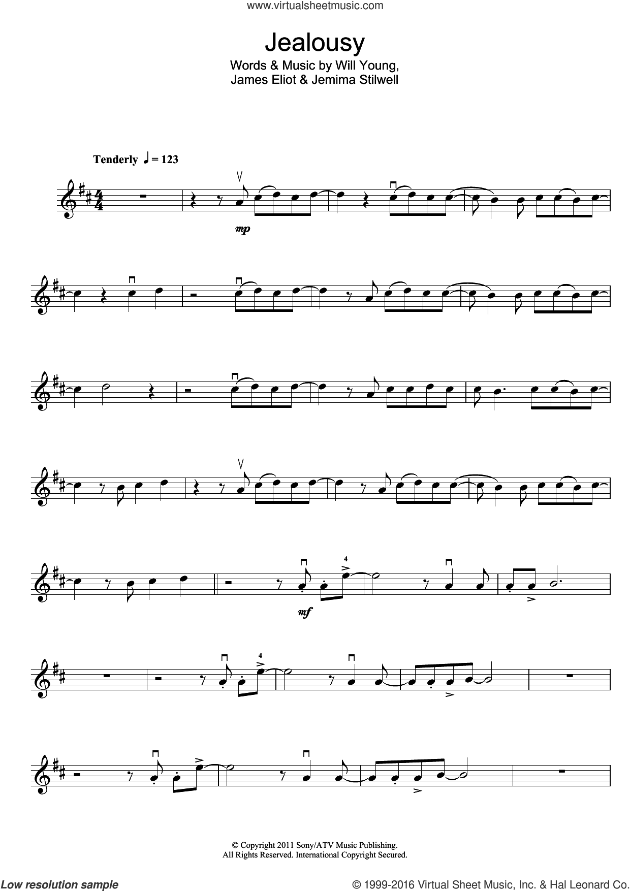 Jealousy sheet music for violin solo by Jim Eliot, Jemima Stilwell and Will Young. Score Image Preview.
