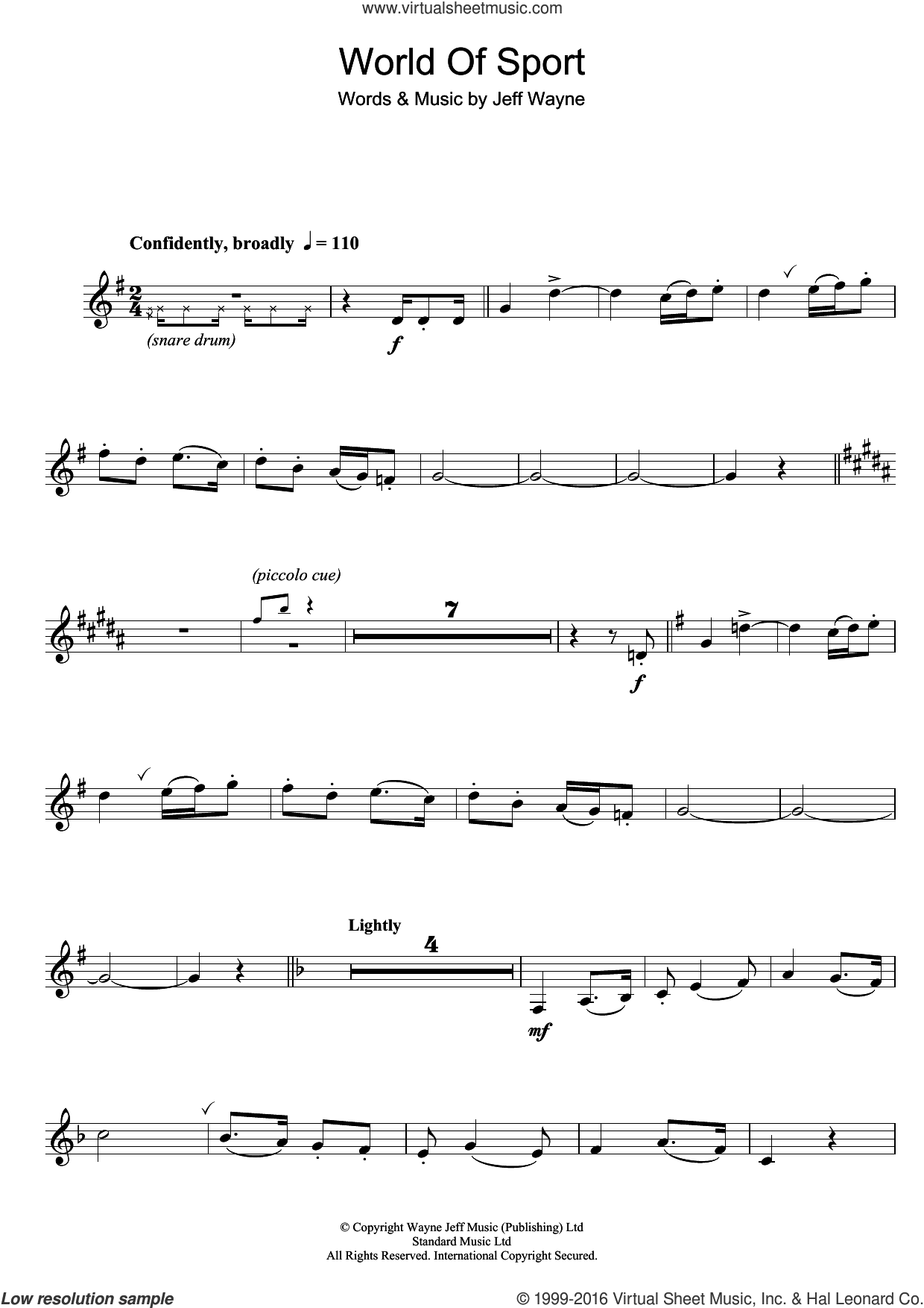World Of Sport sheet music for clarinet solo by Jeff Wayne. Score Image Preview.