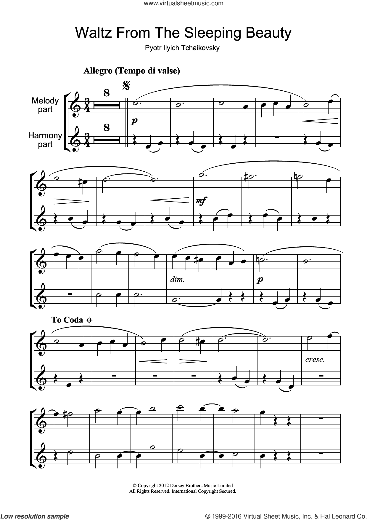 Waltz (from The Sleeping Beauty) sheet music for clarinet solo by Pyotr Ilyich Tchaikovsky, classical score, intermediate skill level
