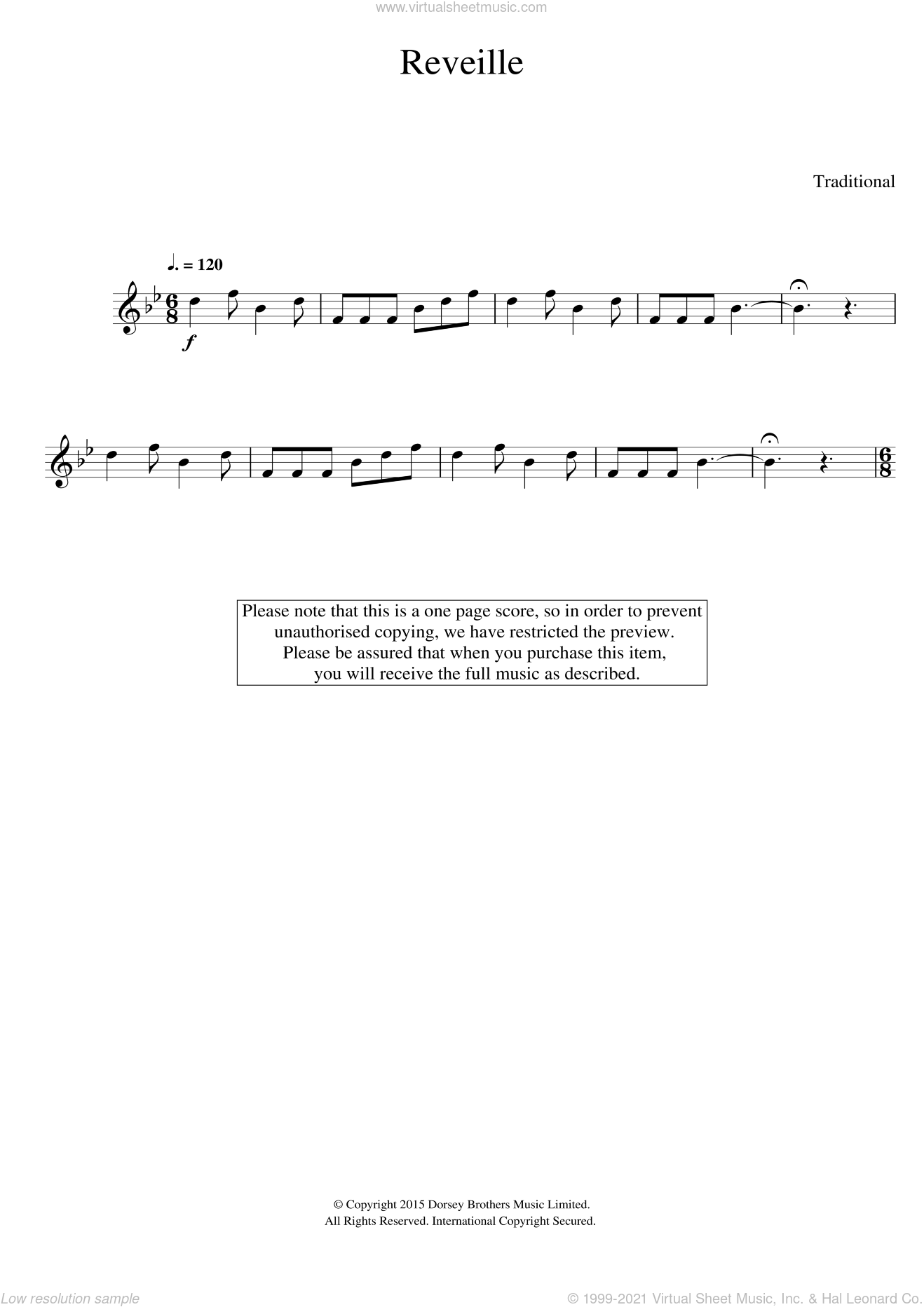 Reveille sheet music for trumpet solo, intermediate. Score Image Preview.