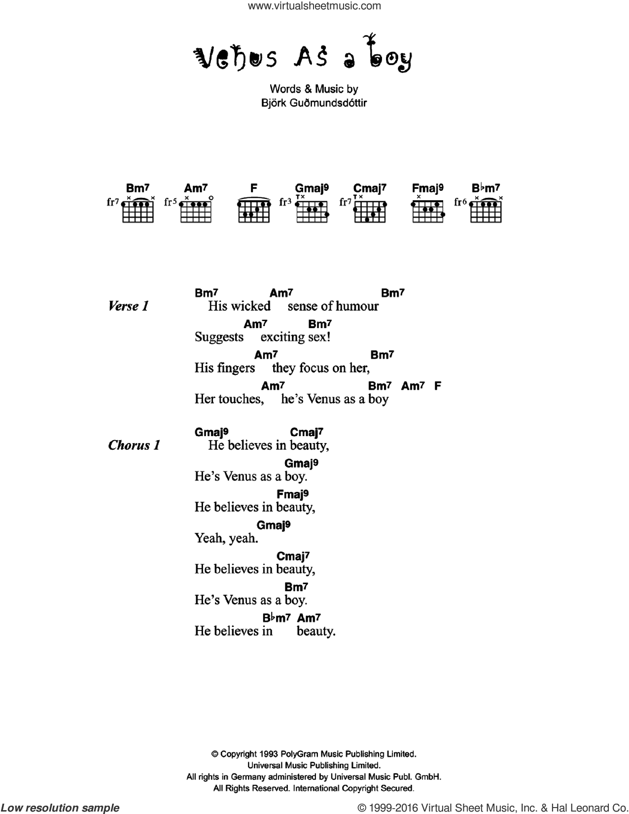 Venus As A Boy sheet music for guitar (chords) by Bjork Gudmundsdottir and Corinne Bailey Rae. Score Image Preview.