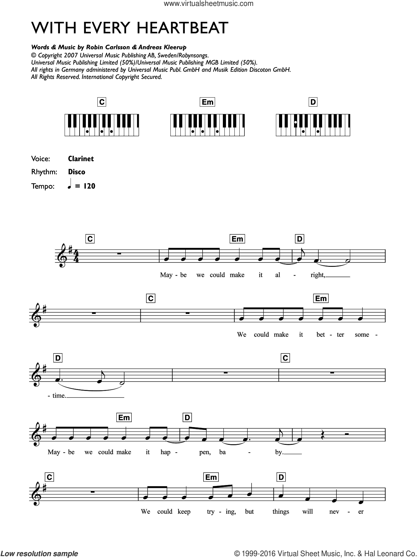 With Every Heartbeat sheet music for piano solo (chords, lyrics, melody) by Robyn, intermediate piano (chords, lyrics, melody). Score Image Preview.