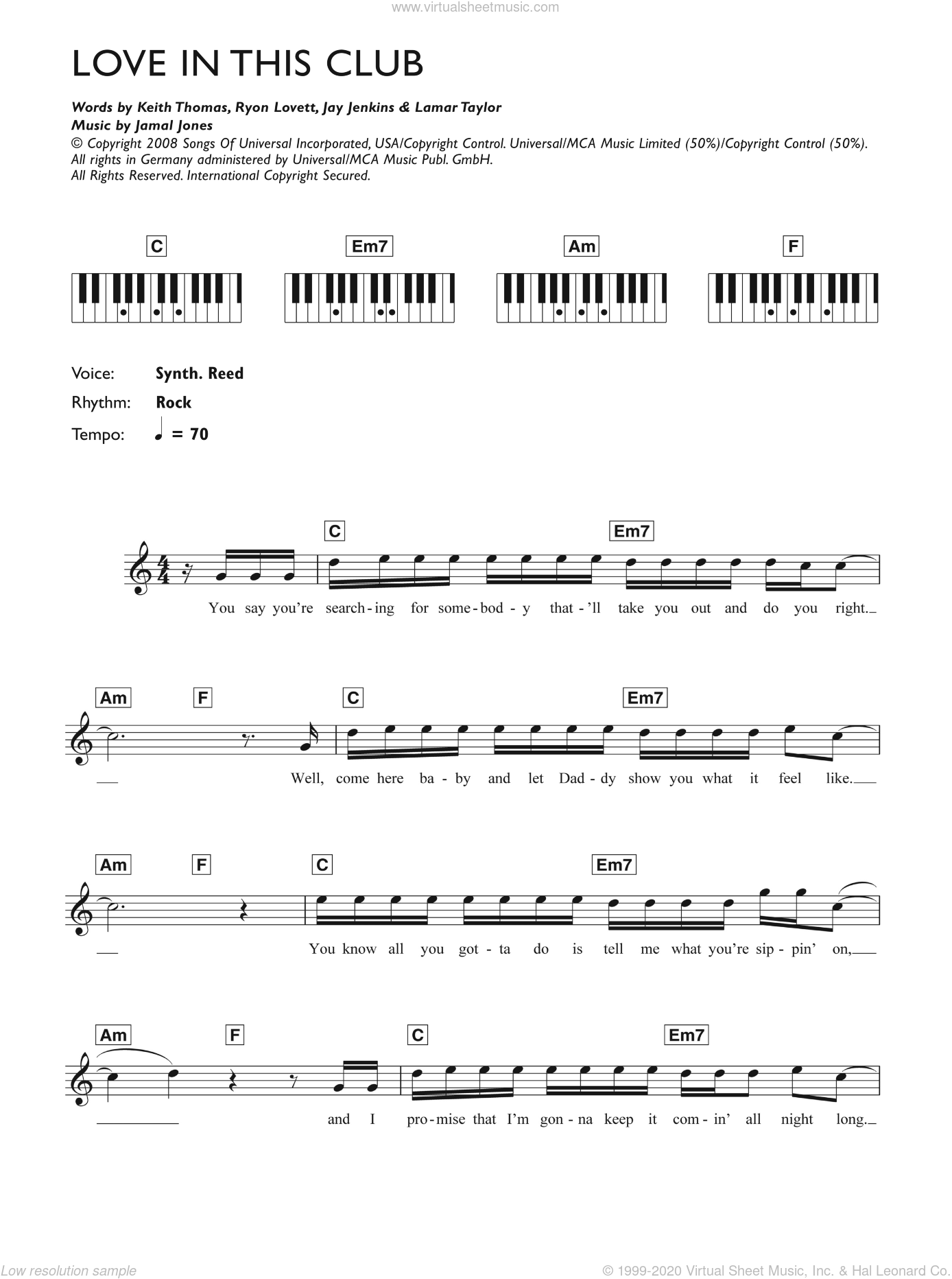 Love In This Club sheet music for piano solo (chords, lyrics, melody) by Gary Usher, Jamal Jones, Jay Jenkins, Keith Thomas, Lamar Taylor and Ryon Lovett, intermediate piano (chords, lyrics, melody)