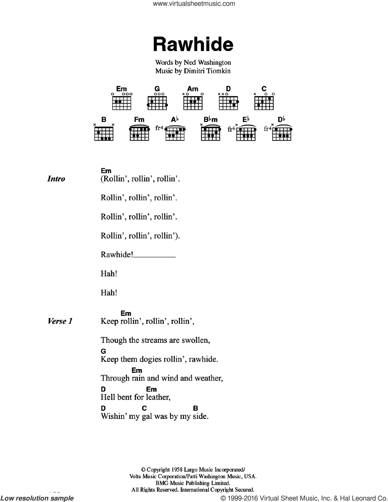 The Blues Brothers - Rawhide sheet music for guitar (chords)