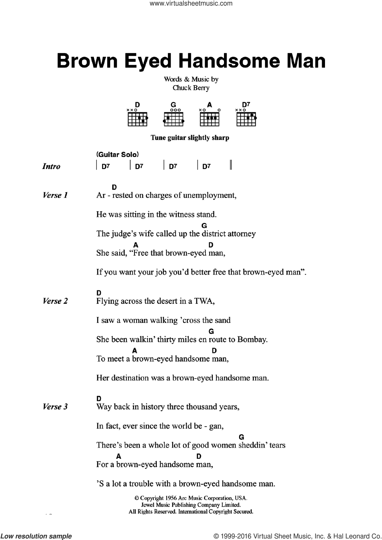 Brown Eyed Handsome Man sheet music for guitar (chords) by Chuck Berry, intermediate guitar (chords). Score Image Preview.