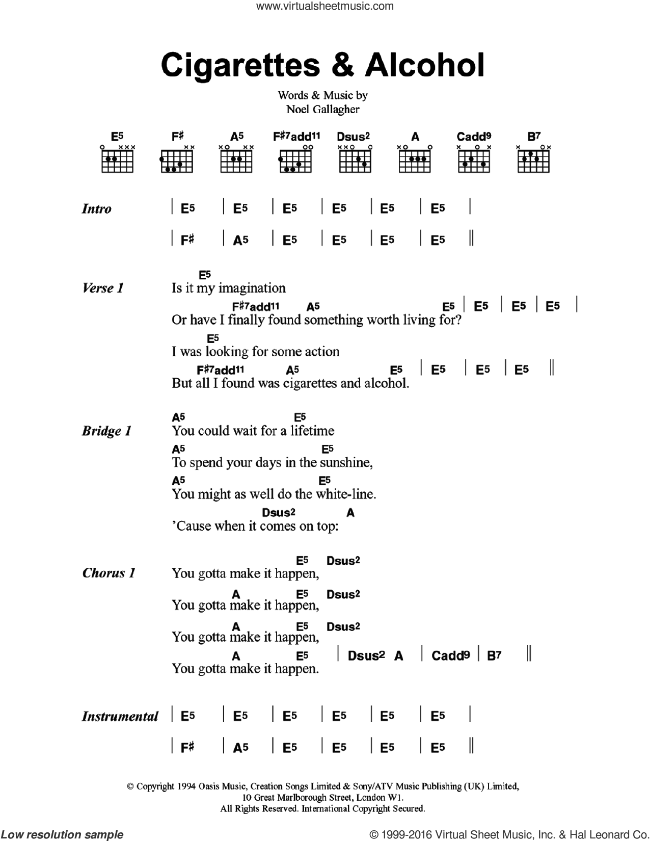 Cigarettes and Alcohol sheet music for guitar (chords) by Oasis and Noel Gallagher. Score Image Preview.