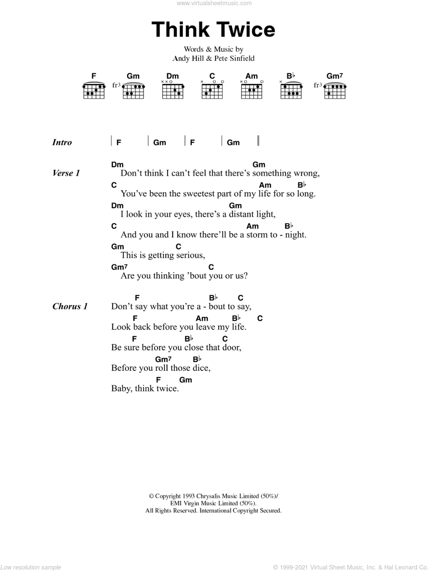 Think Twice sheet music for guitar (chords) by Celine Dion, Andy Hill and Pete Sinfield, intermediate