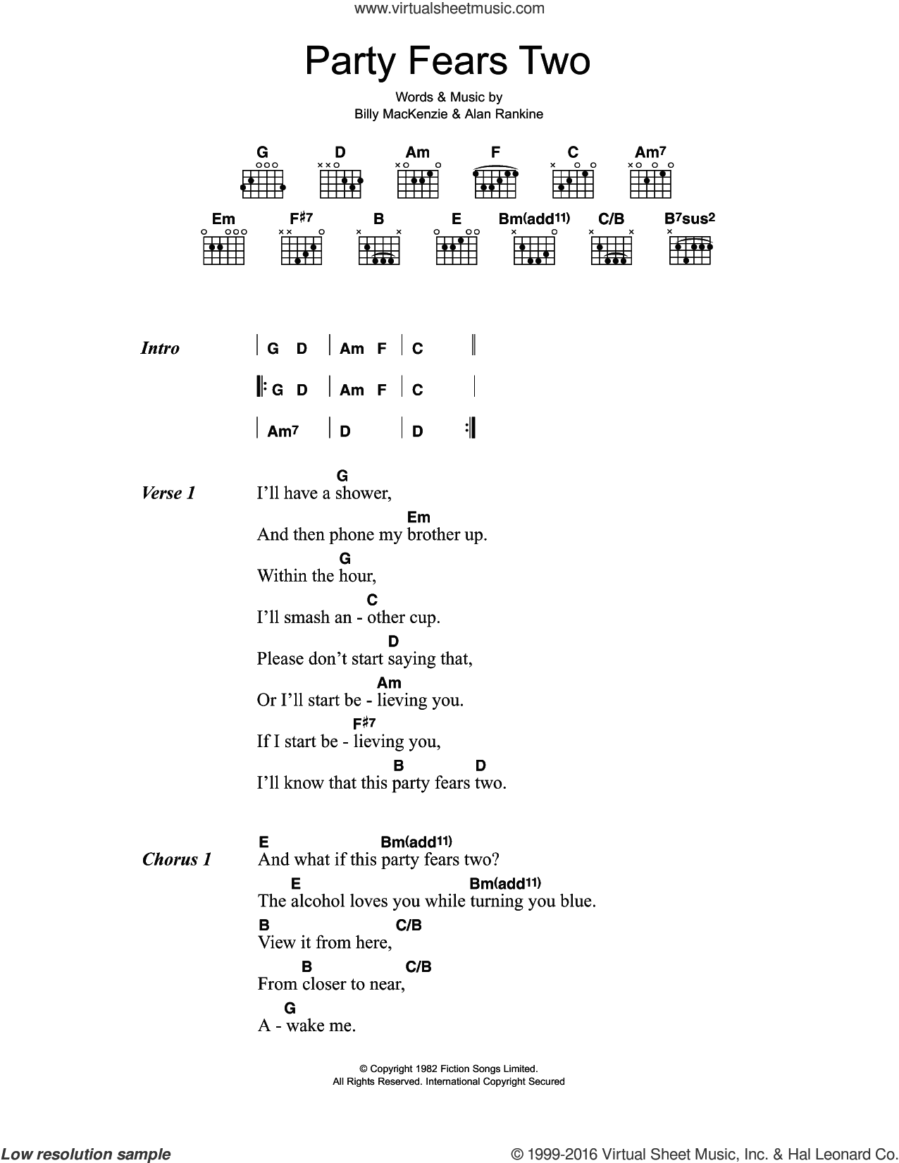 Party Fears Two sheet music for guitar (chords) by The Associates, Alan Rankine and Billy MacKenzie, intermediate skill level