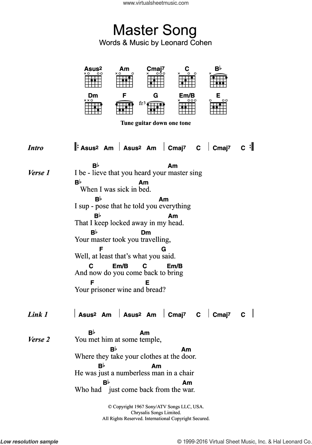 cohen master song sheet guitar chords
