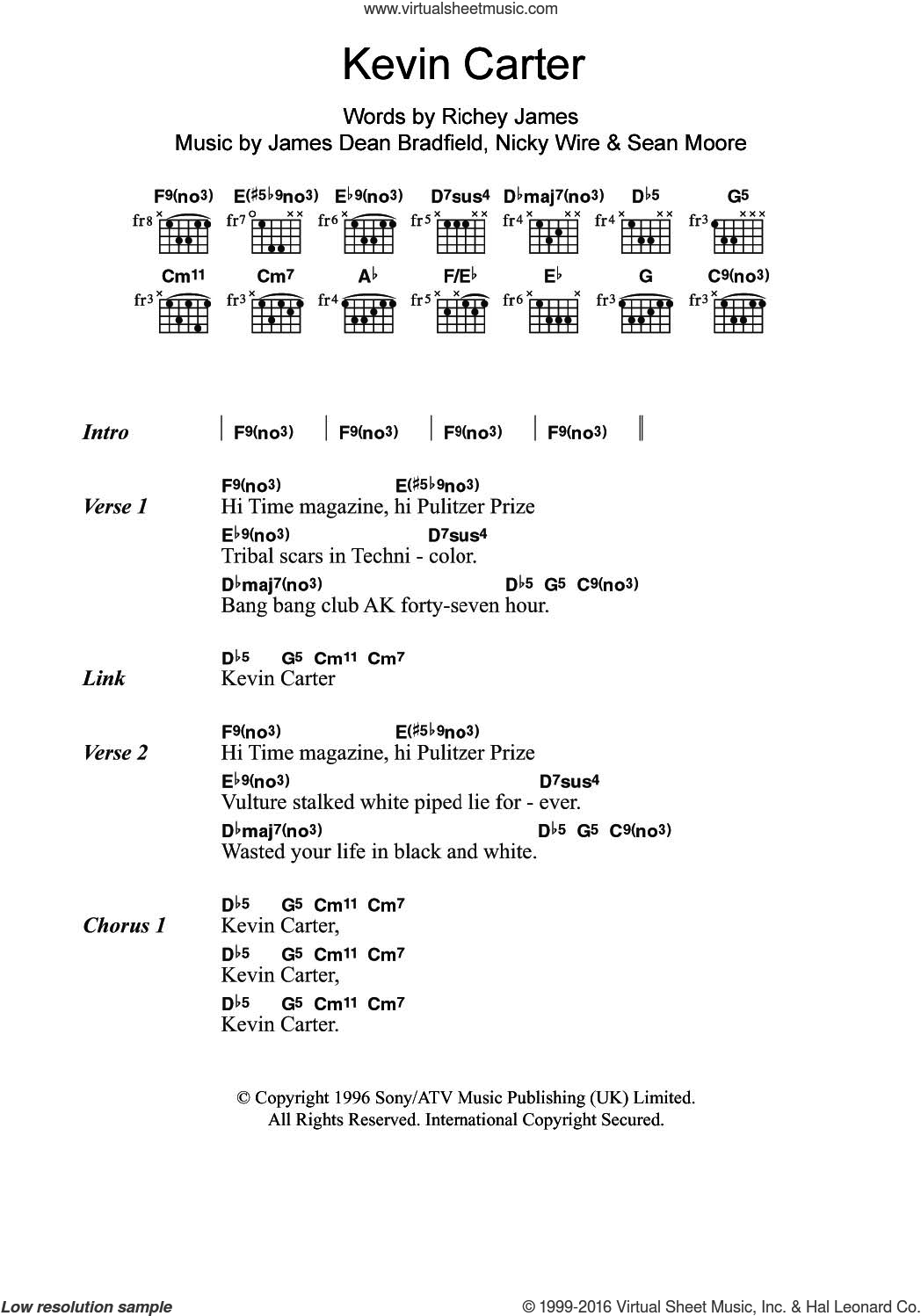 Kevin Carter sheet music for guitar (chords) by Manic Street Preachers and James Dean Bradfield. Score Image Preview.
