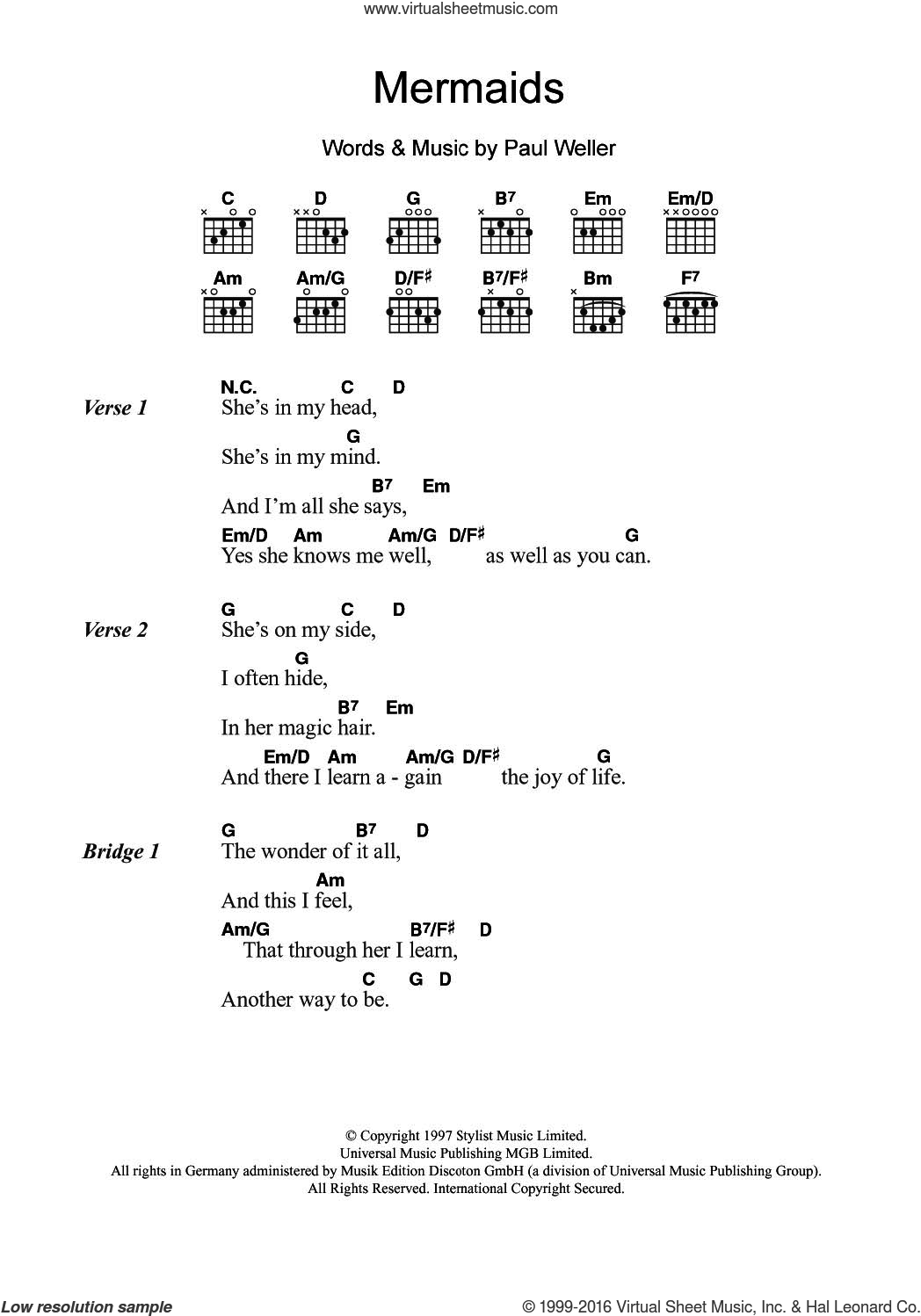 Mermaids sheet music for guitar (chords) by Paul Weller, intermediate guitar (chords). Score Image Preview.