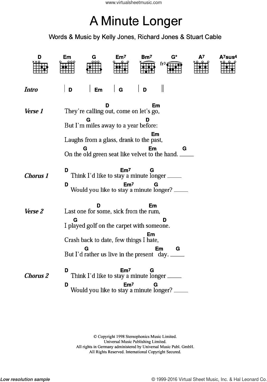 Stereophonics A Minute Longer Sheet Music For Guitar Chords