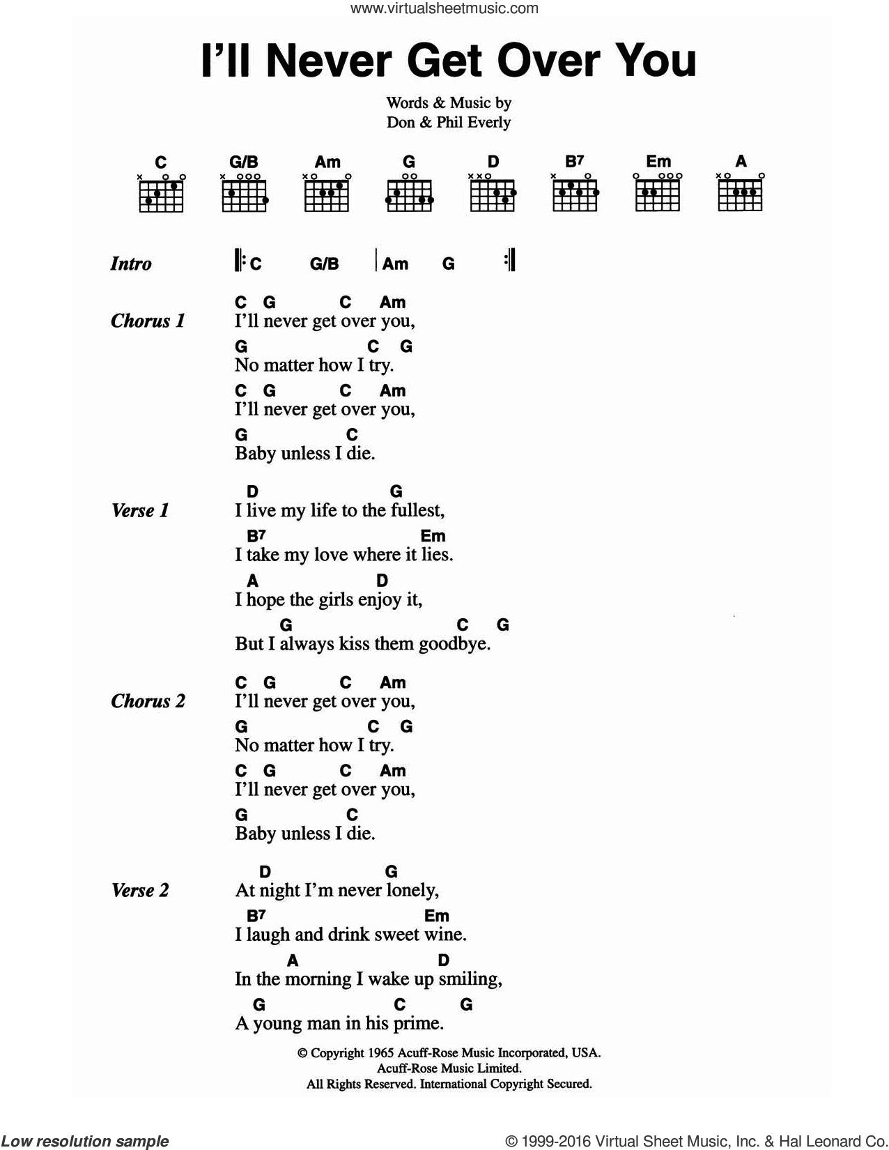 I'll Never Get Over You sheet music for guitar (chords) by The Everly Brothers, Don Everly and Phil Everly, intermediate skill level