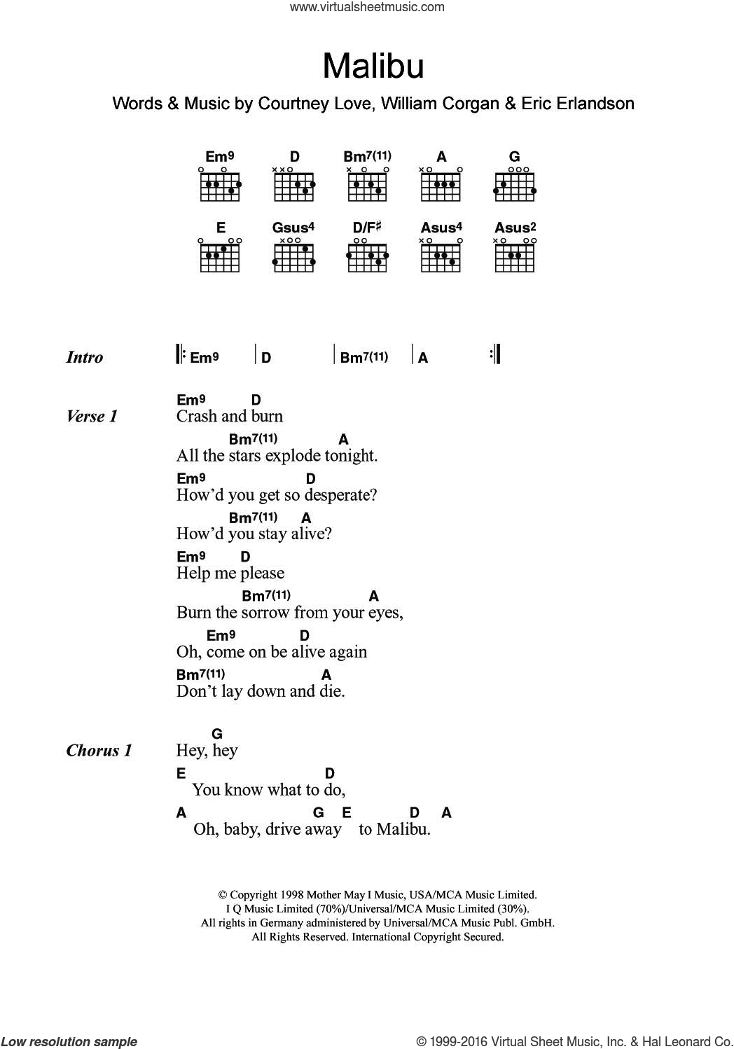 Malibu sheet music for guitar (chords) by Eric Erlandson and Billy Corgan. Score Image Preview.