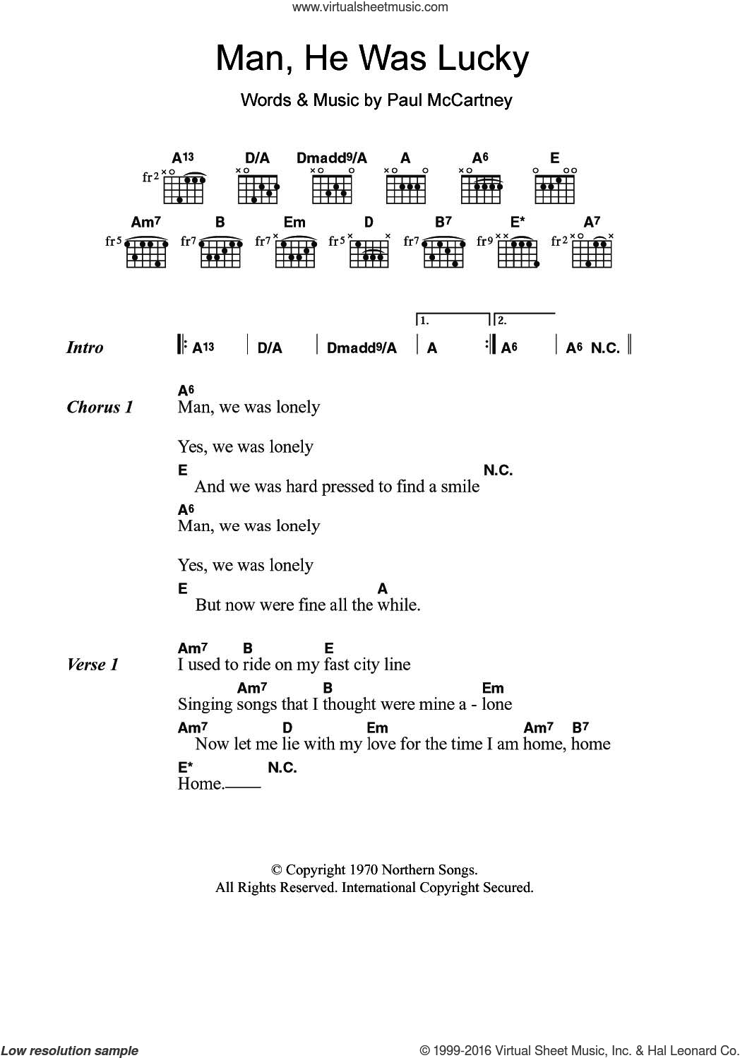 Man He Was Lucky sheet music for guitar (chords) by Paul McCartney. Score Image Preview.