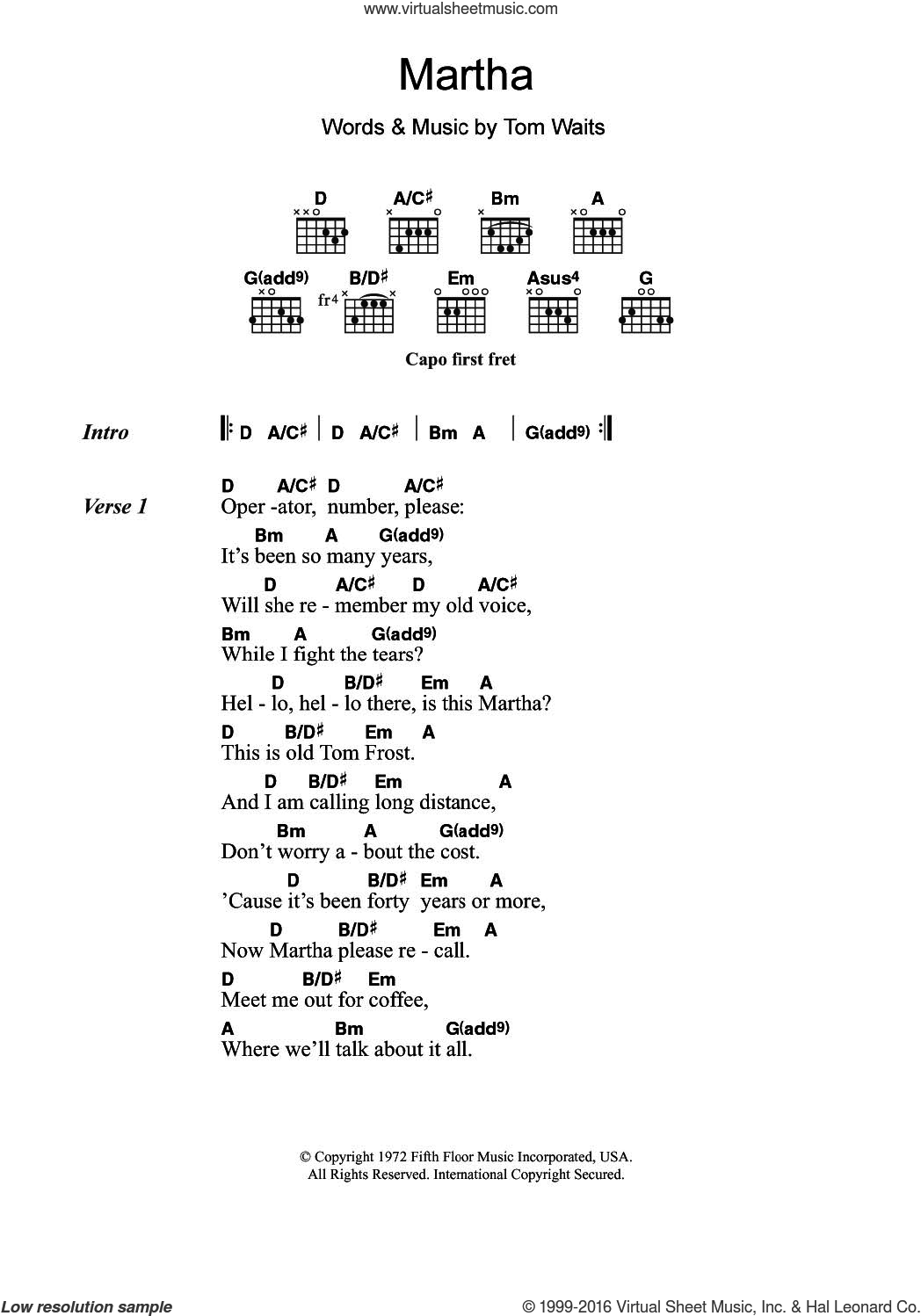 Martha sheet music for guitar (chords) by Tom Waits, intermediate guitar (chords). Score Image Preview.