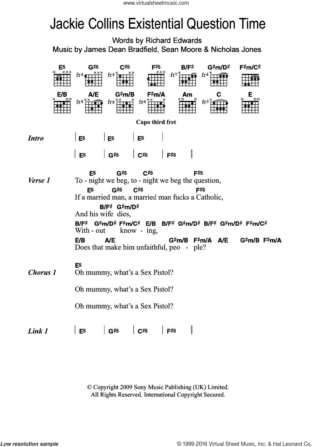 Jackie Collins Existential Question Time sheet music for guitar (chords) by Manic Street Preachers and James Dean Bradfield, intermediate guitar (chords). Score Image Preview.