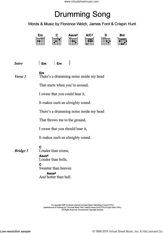 Machine Drumming Song Sheet Music For Guitar Chords Pdf