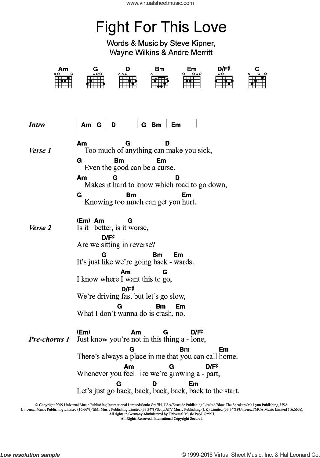 Fight For This Love sheet music for guitar (chords) by Cheryl, intermediate. Score Image Preview.