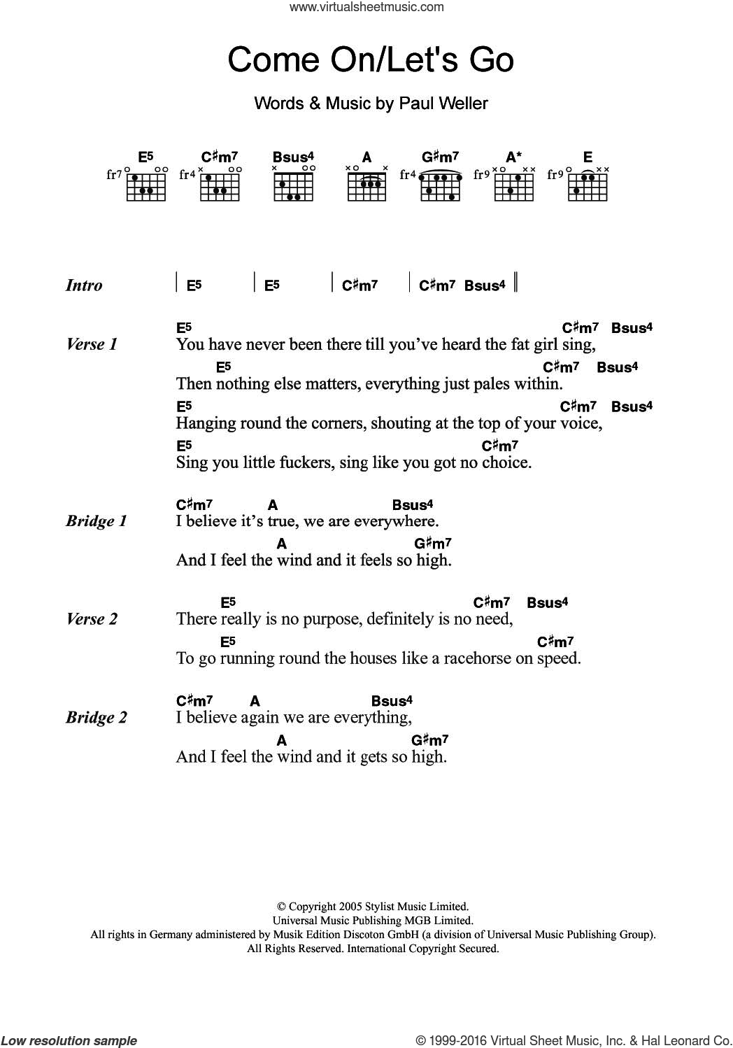 Come On/Let's Go sheet music for guitar (chords) by Paul Weller, intermediate. Score Image Preview.