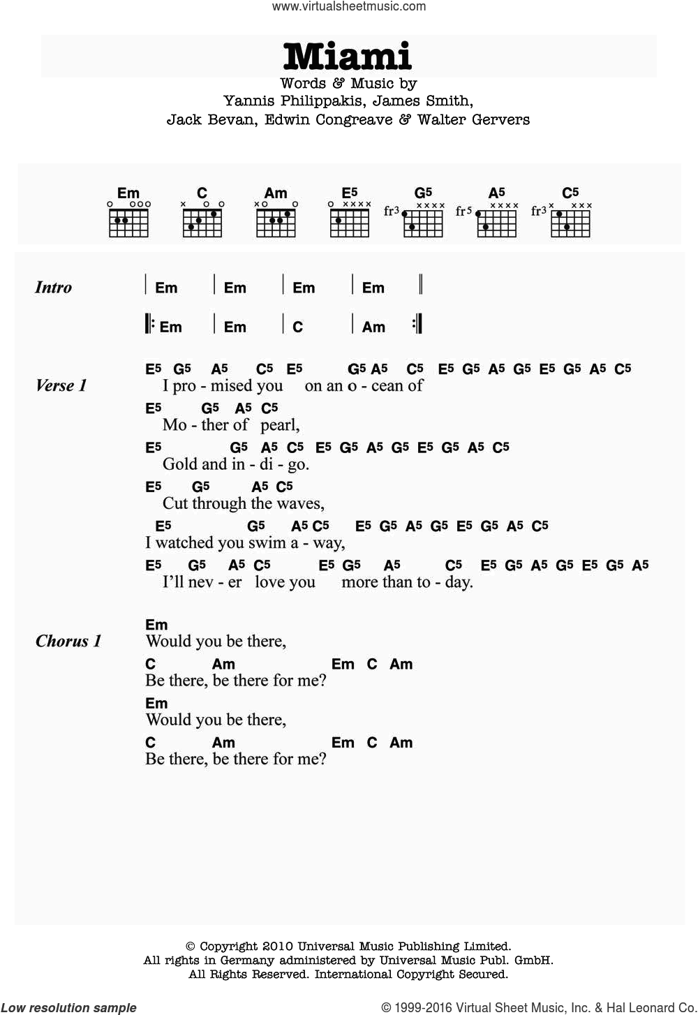 Miami sheet music for guitar (chords) by Yannis Philippakis. Score Image Preview.