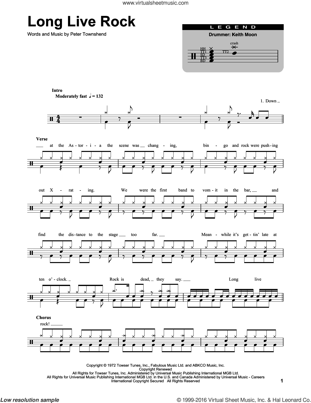 Long Live Rock sheet music for drums by The Who and Pete Townshend, intermediate skill level