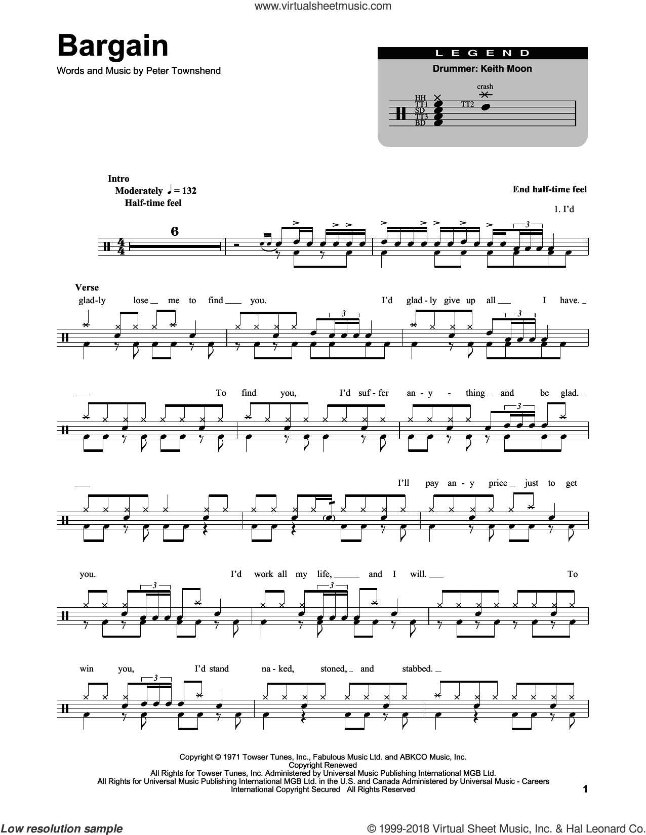 Bargain sheet music for drums by The Who and Pete Townshend, intermediate skill level