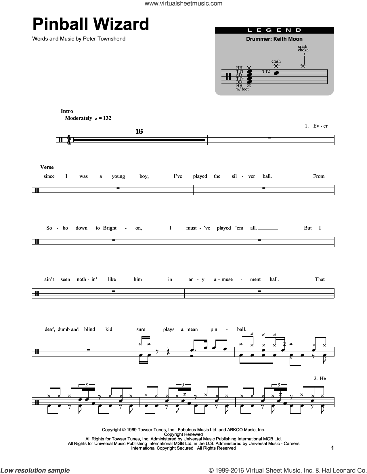 Pinball Wizard sheet music for drums by The Who and Pete Townshend, intermediate. Score Image Preview.