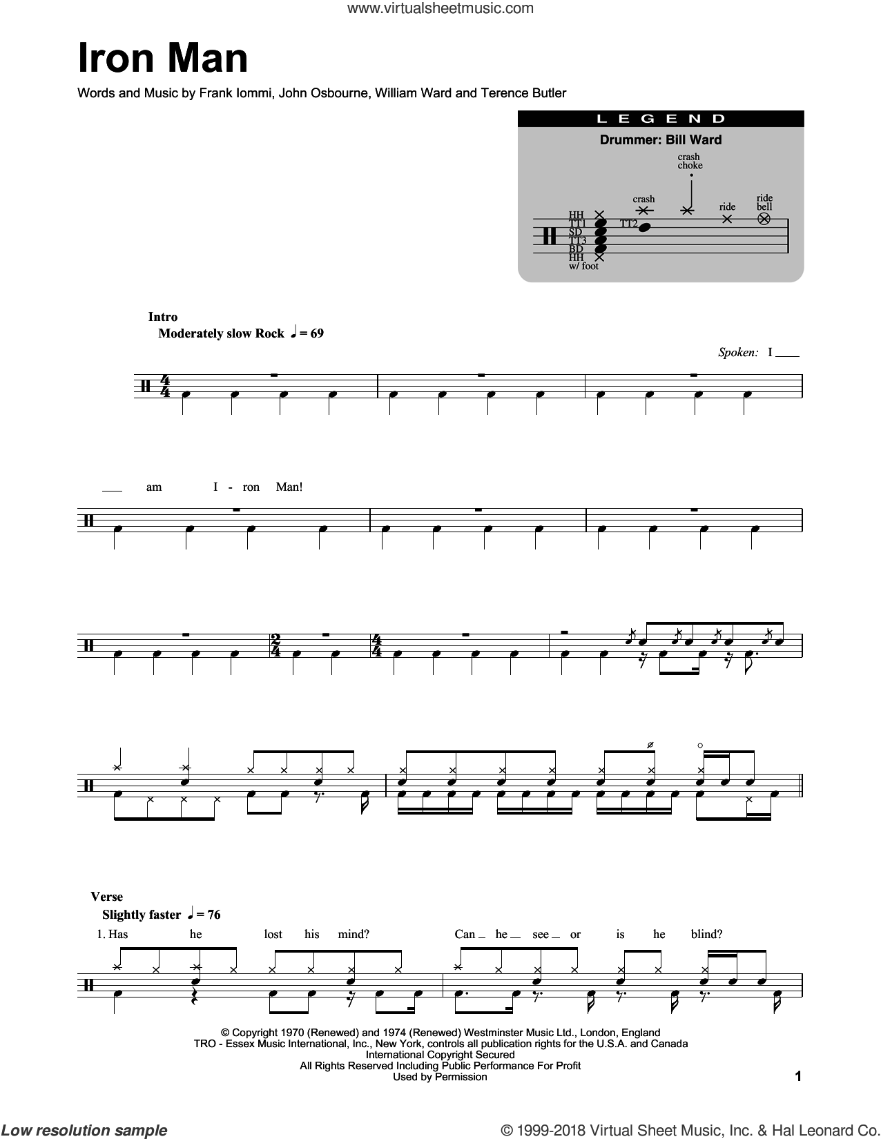 Iron Man sheet music for drums by William Ward, Black Sabbath and Terence Butler. Score Image Preview.