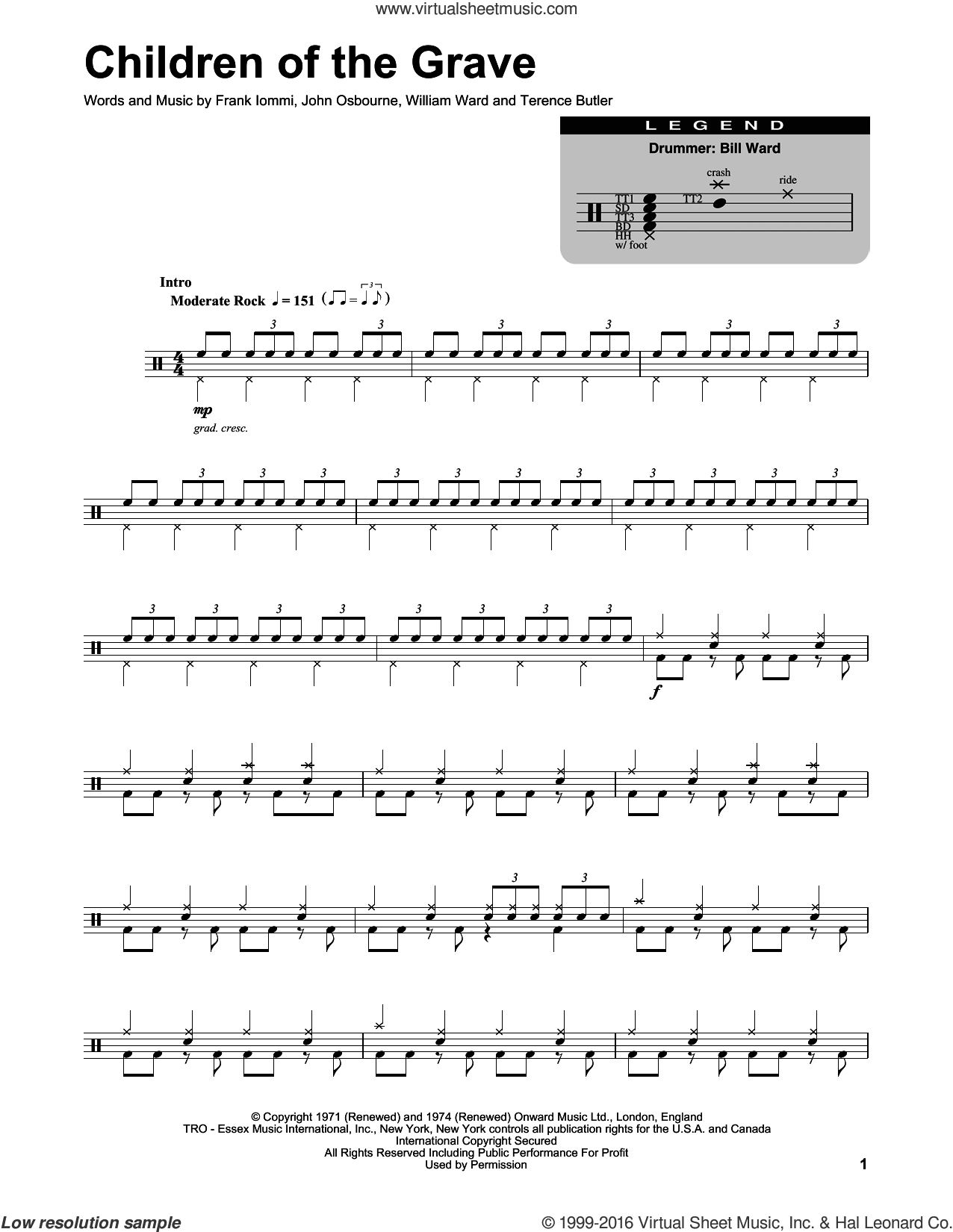 Children Of The Grave sheet music for drums by Black Sabbath, Frank Iommi, John Osbourne, Terence Butler and William Ward, intermediate skill level