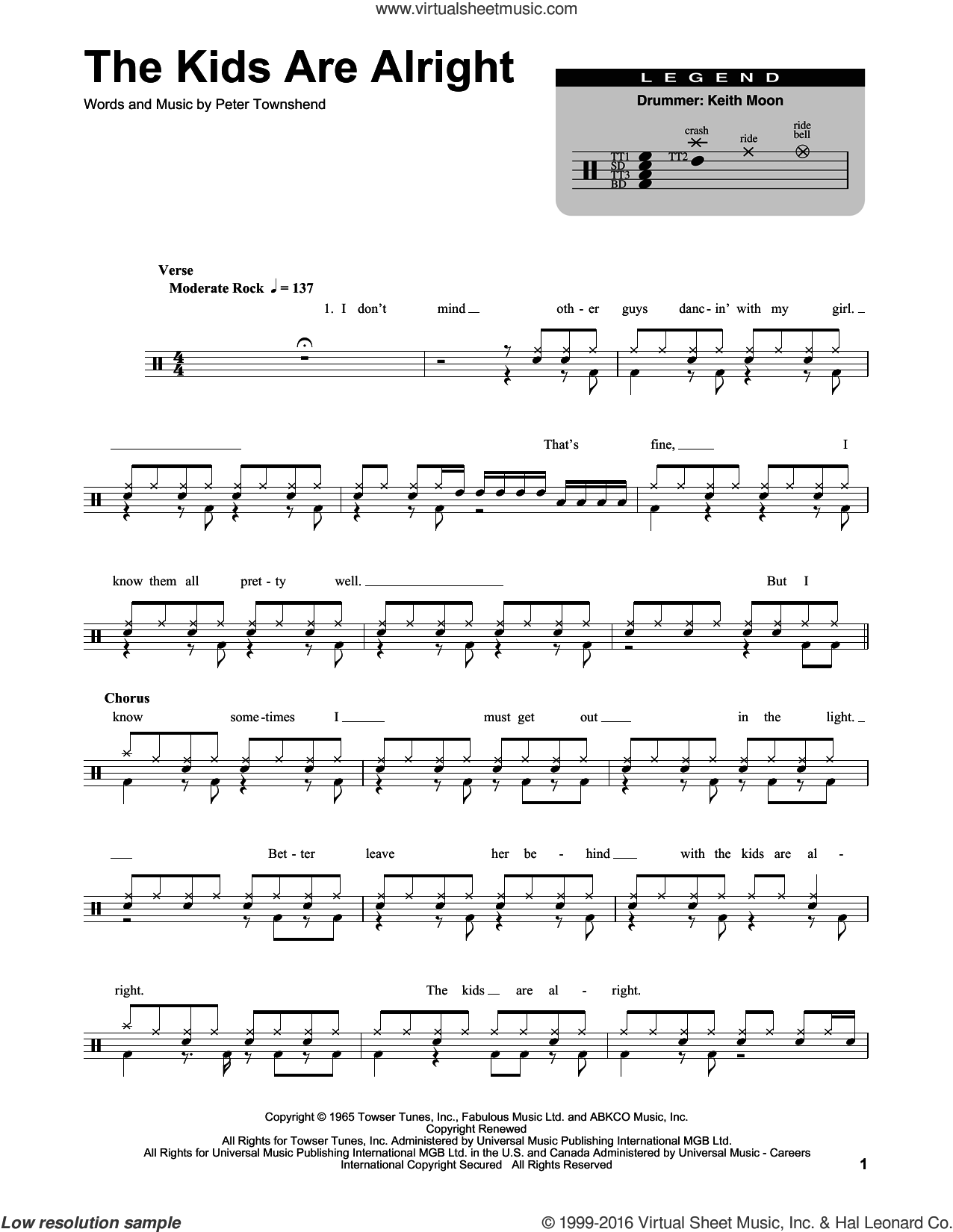The Kids Are Alright sheet music for drums by Pete Townshend and The Who. Score Image Preview.