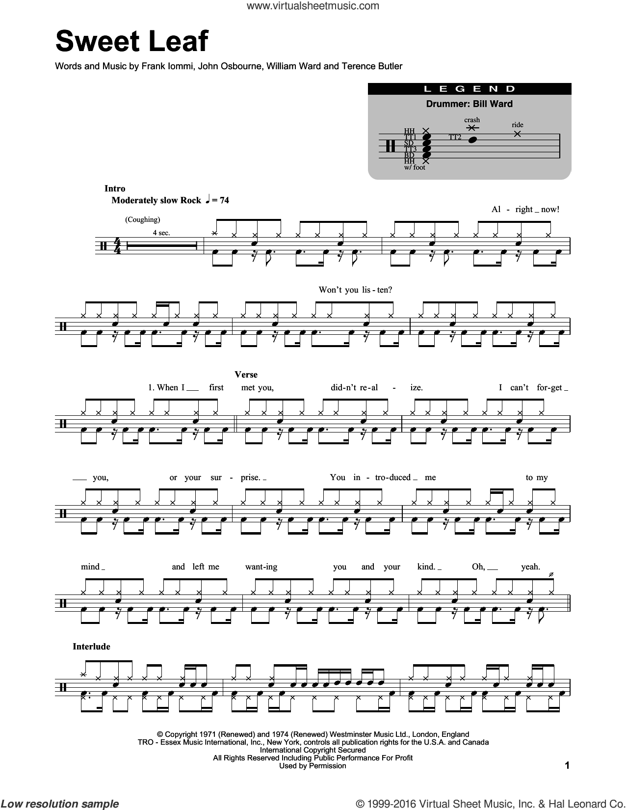 Sweet Leaf sheet music for drums by William Ward, Black Sabbath and Terence Butler. Score Image Preview.