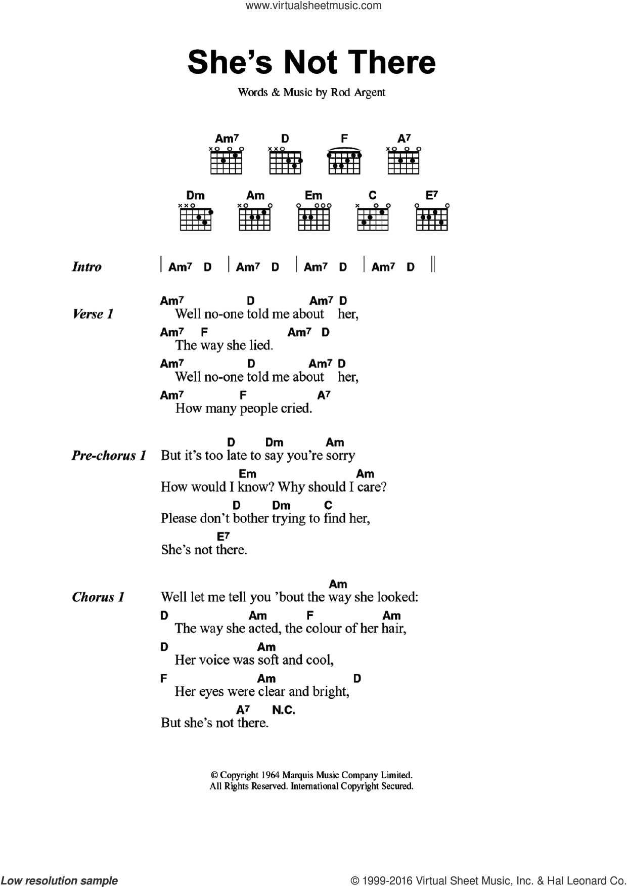 She's Not There sheet music for guitar (chords) by The Zombies and Rod Argent, intermediate skill level
