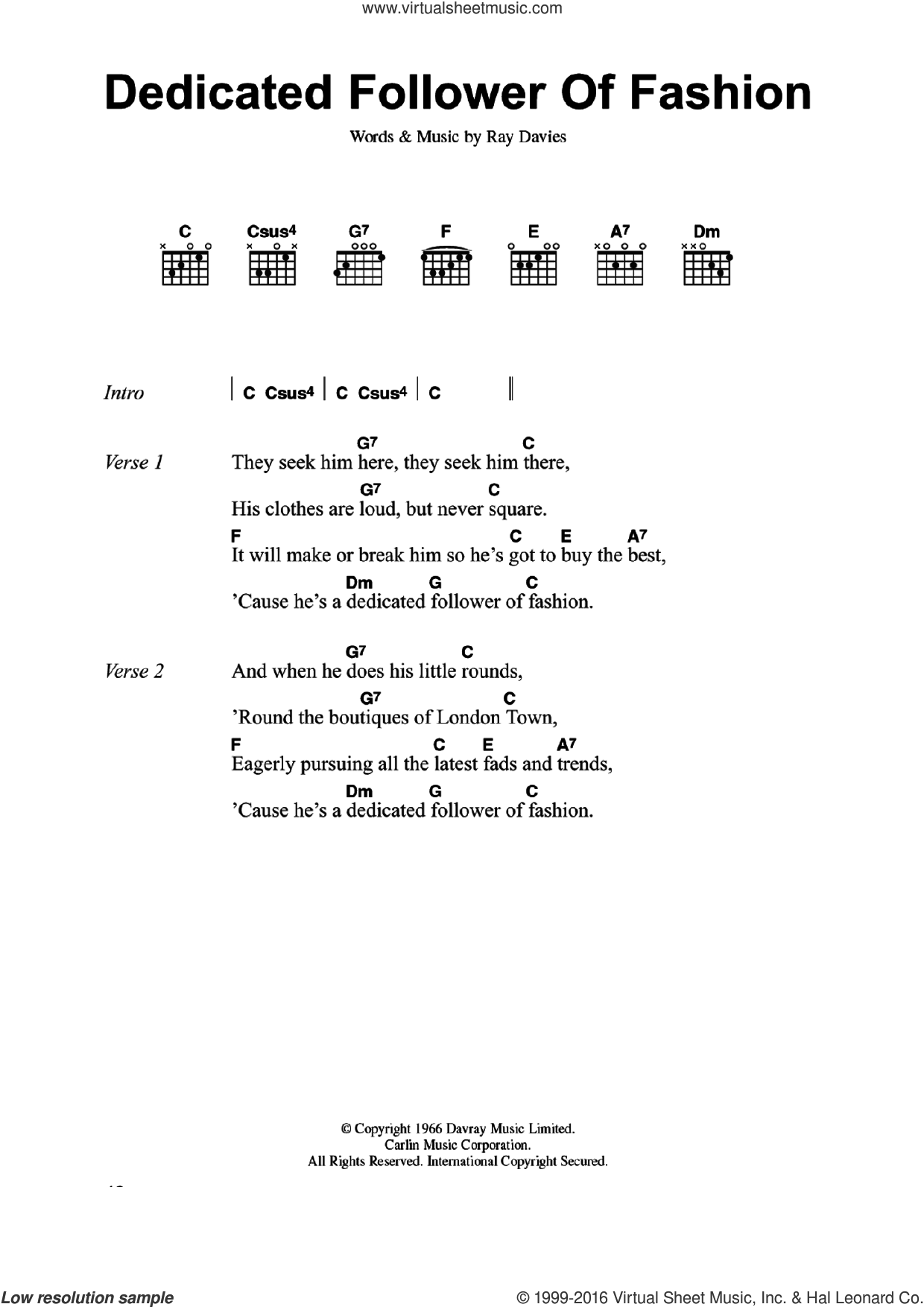 Dedicated Follower Of Fashion sheet music for guitar (chords) by The Kinks and Ray Davies, intermediate skill level