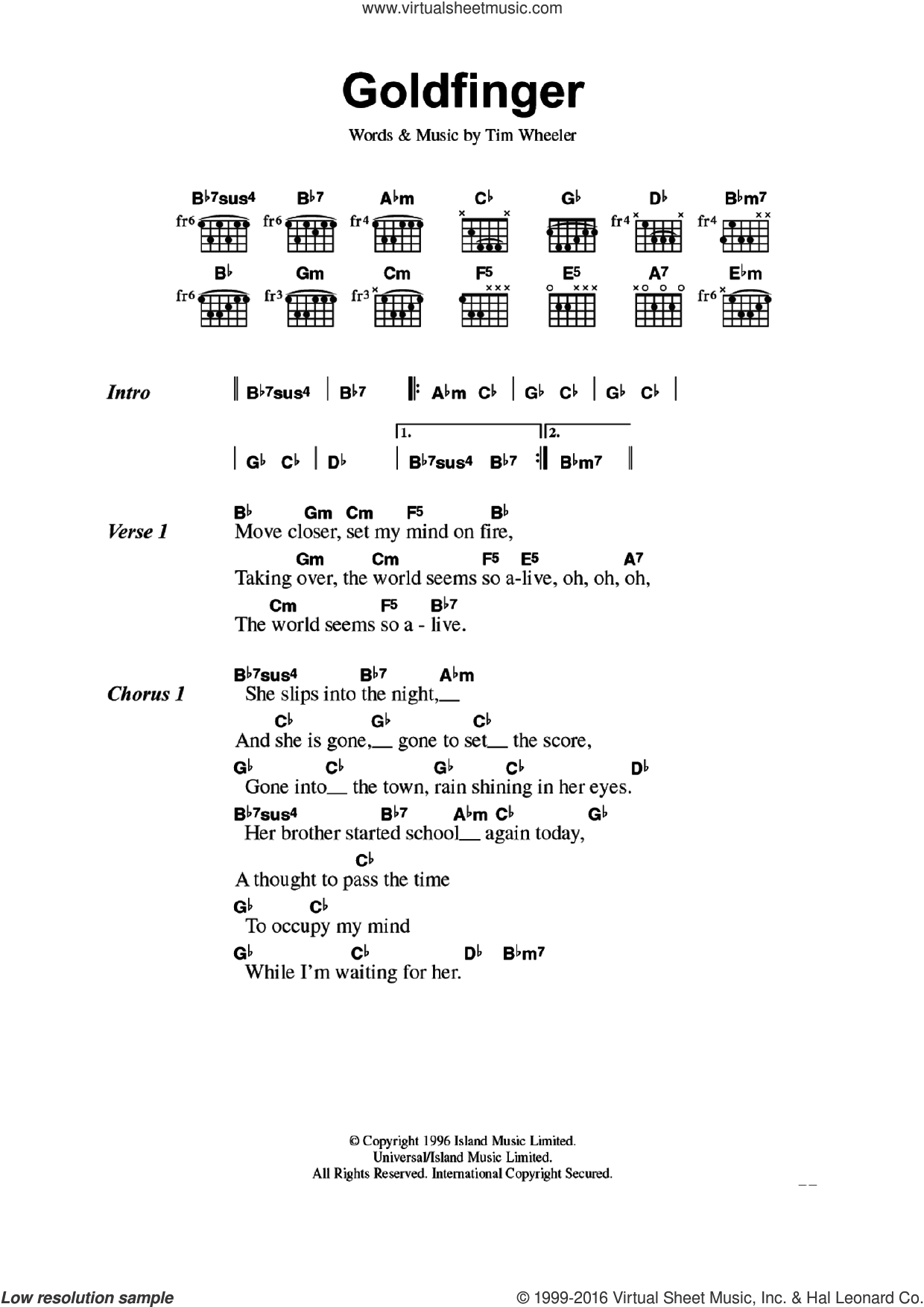 Goldfinger sheet music for guitar (chords) by Tim Wheeler. Score Image Preview.