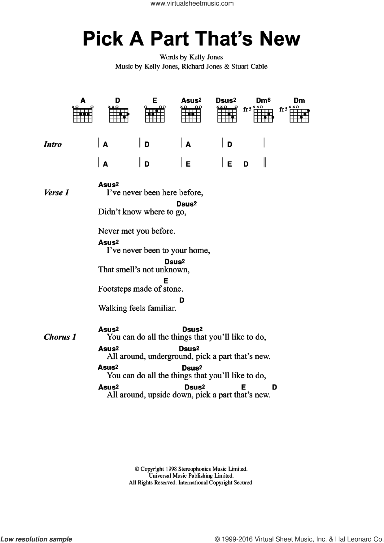 Pick A Part That's New sheet music for guitar (chords) by Stereophonics, Kelly Jones, Richard Jones and Stuart Cable, intermediate skill level