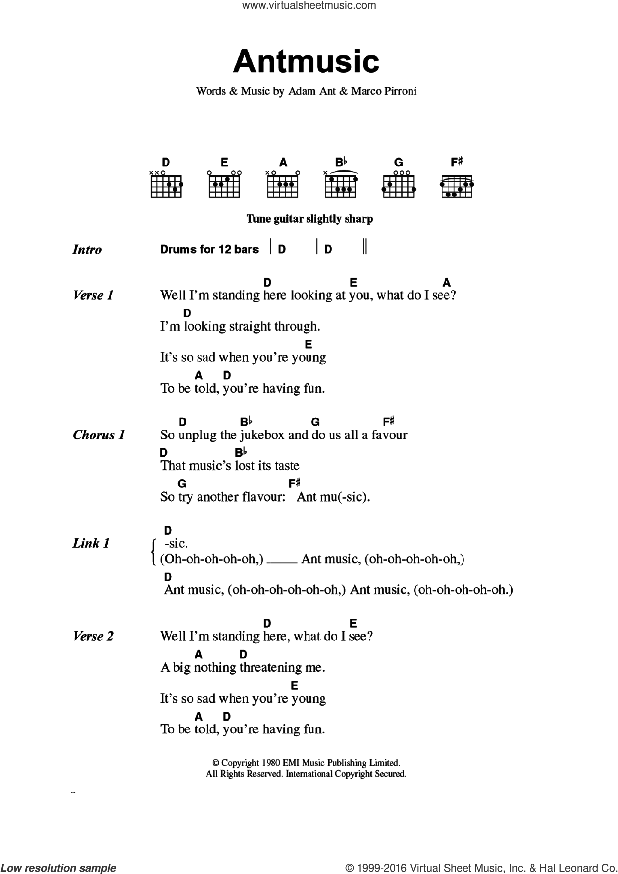 Antmusic sheet music for guitar (chords) by Adam & The Ants, Adam Ant and Marco Pirroni, intermediate skill level