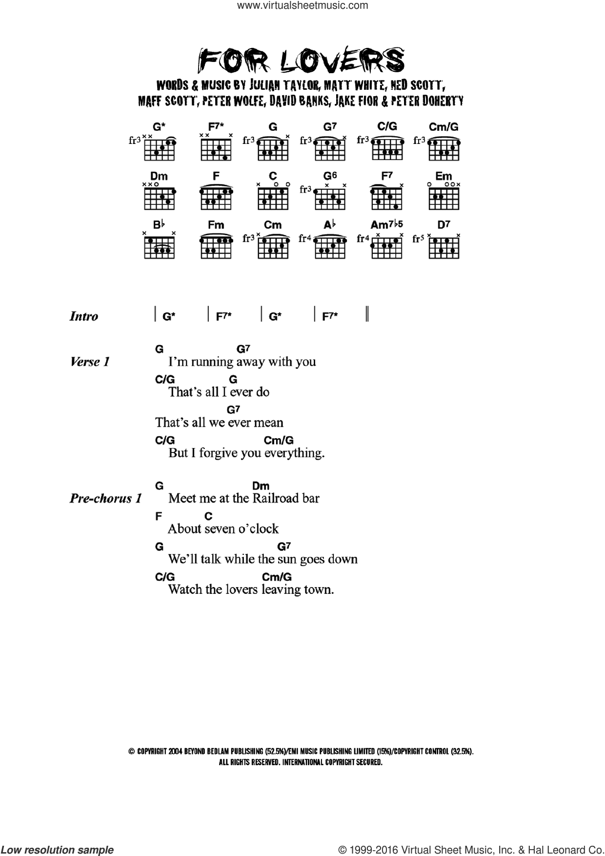 For Lovers (featuring Pete Doherty) sheet music for guitar (chords) by Wolfman, David Banks, Jake Fior, Julian Taylor, Maff Scott, Matt White, Ned Scott, Pete Doherty and Peter Wolfe, intermediate skill level