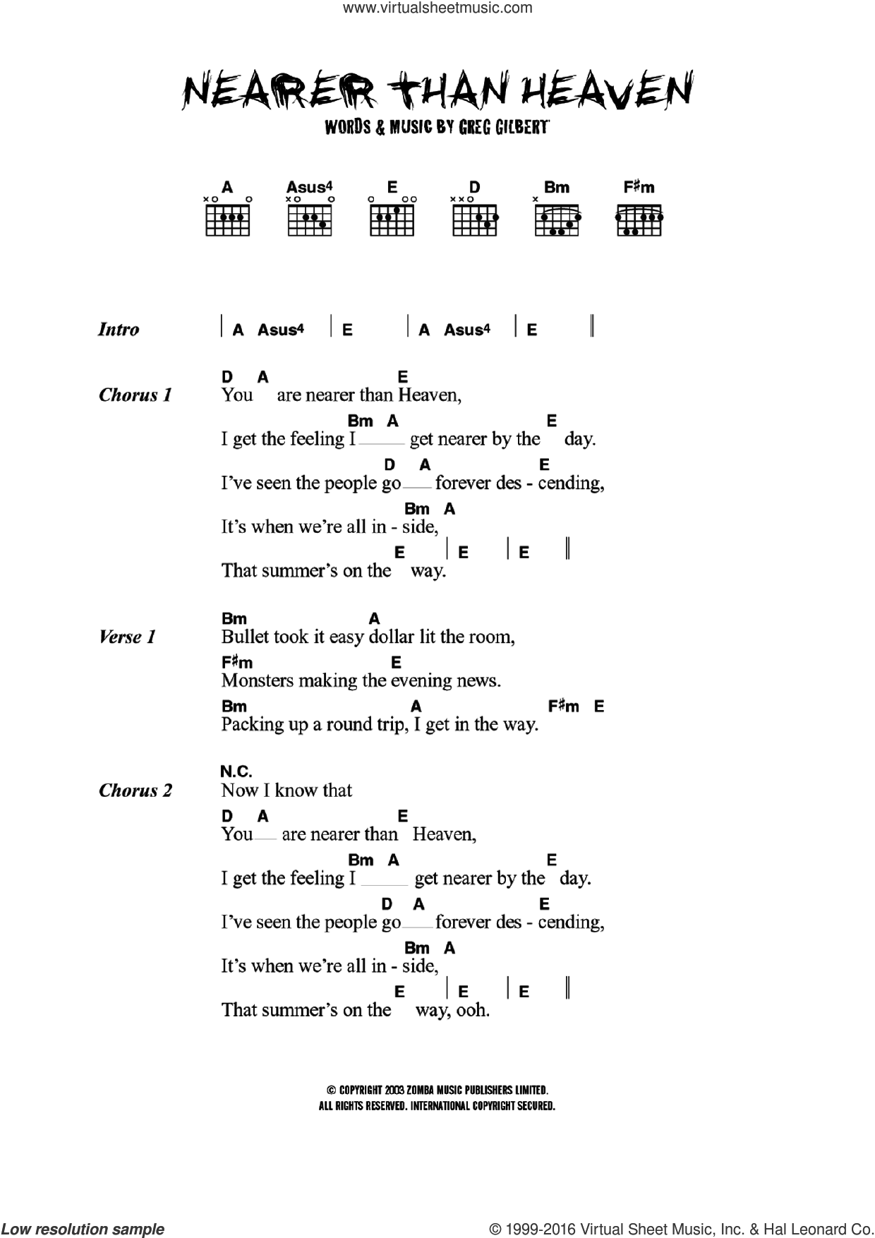 Delays Nearer Than Heaven Sheet Music For Guitar Chords Pdf