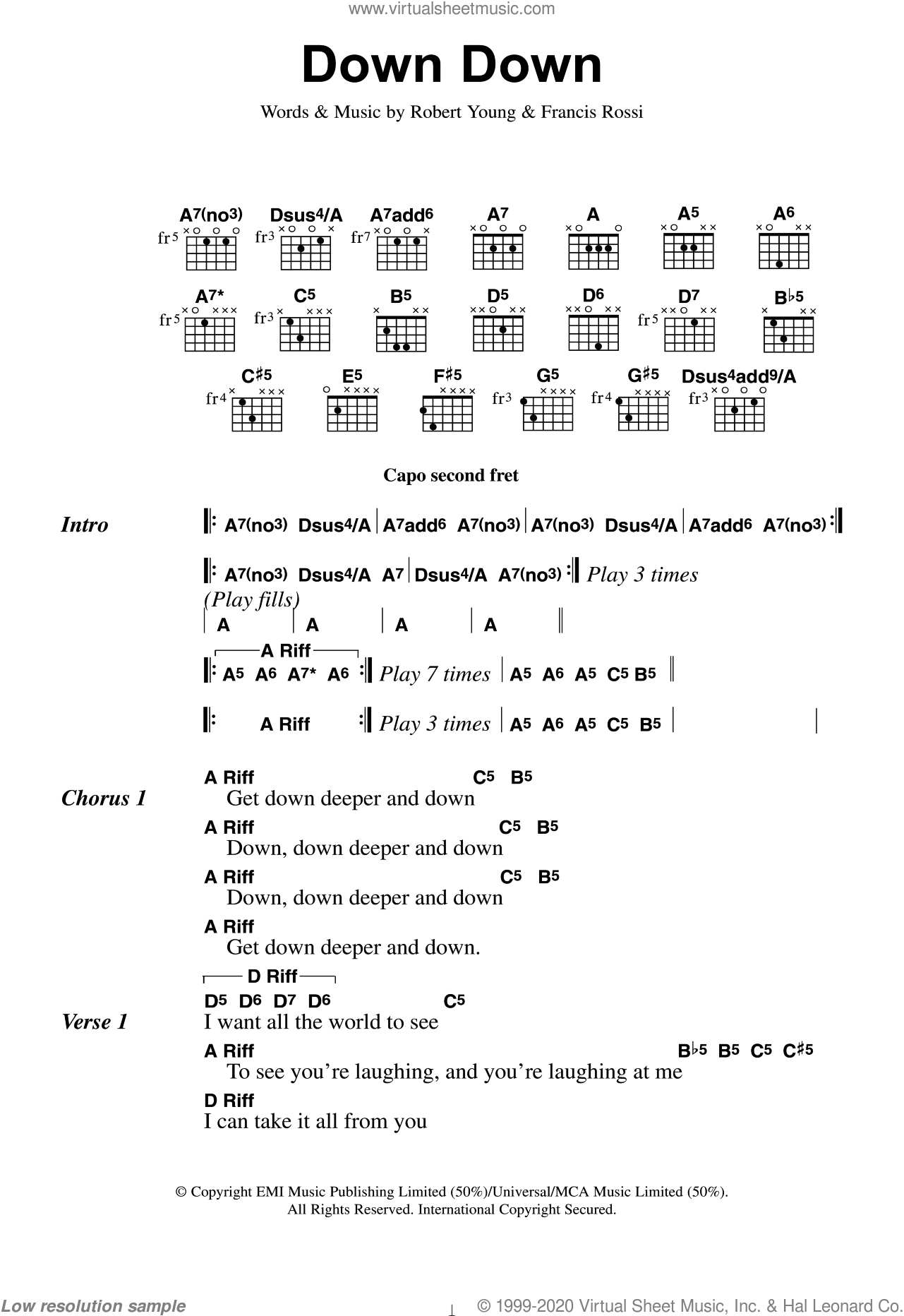 Down Down sheet music for guitar (chords) by Status Quo, Francis Rossi and Robert Young, intermediate skill level