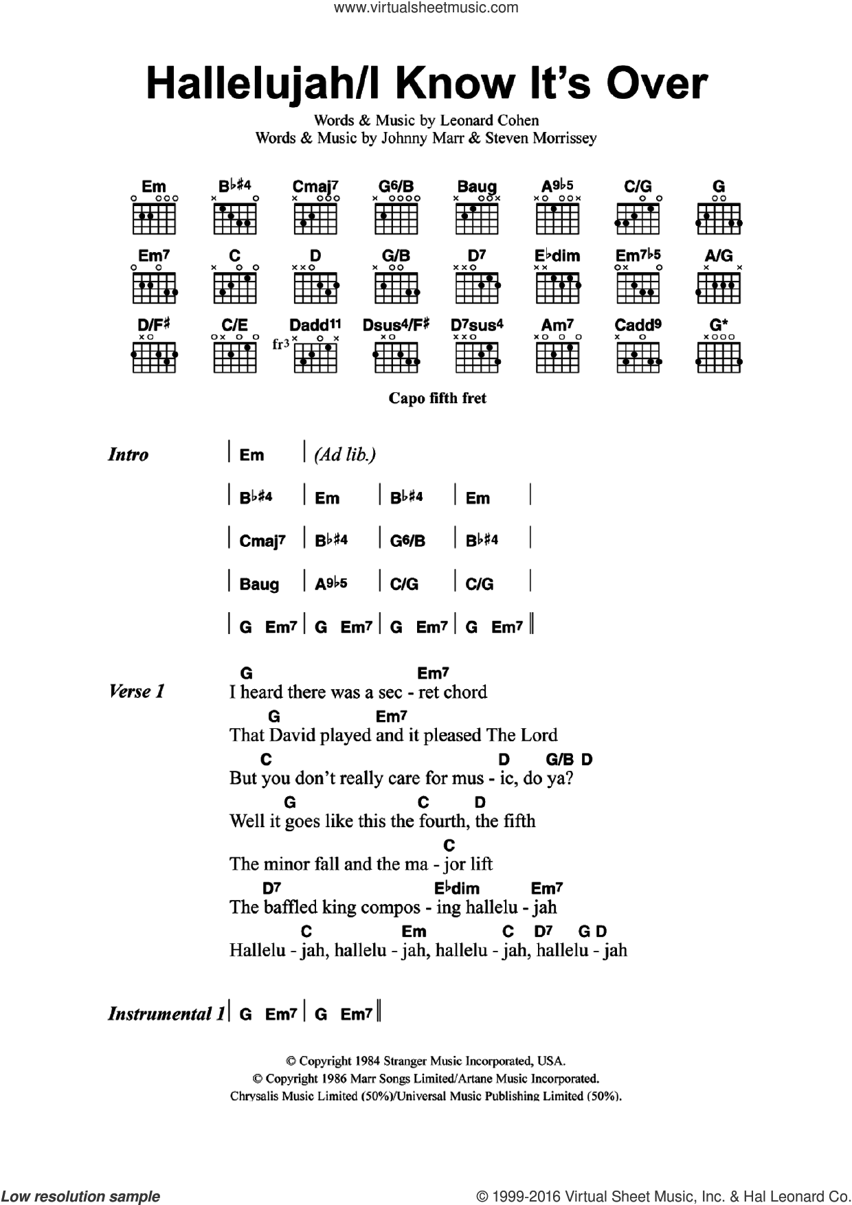 Buckley Hallelujahi Know Its Over Sheet Music For Guitar Chords
