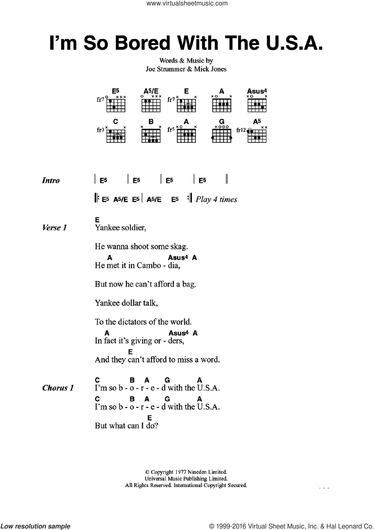 I'm So Bored With The U.S.A. sheet music for guitar (chords) by The Clash, Joe Strummer and Mick Jones, intermediate. Score Image Preview.