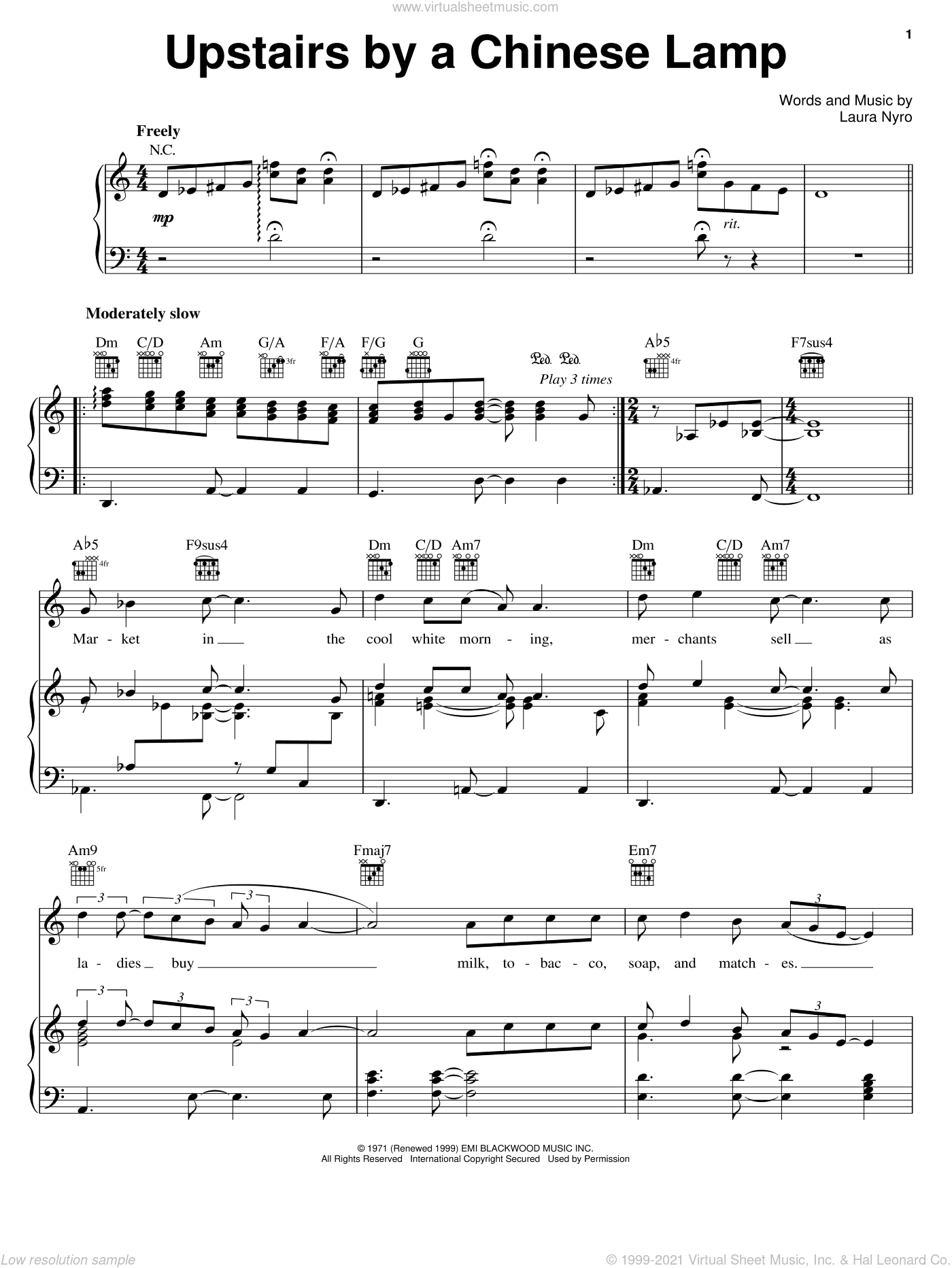 Upstairs By A Chinese Lamp sheet music for voice, piano or guitar by Laura Nyro, intermediate skill level