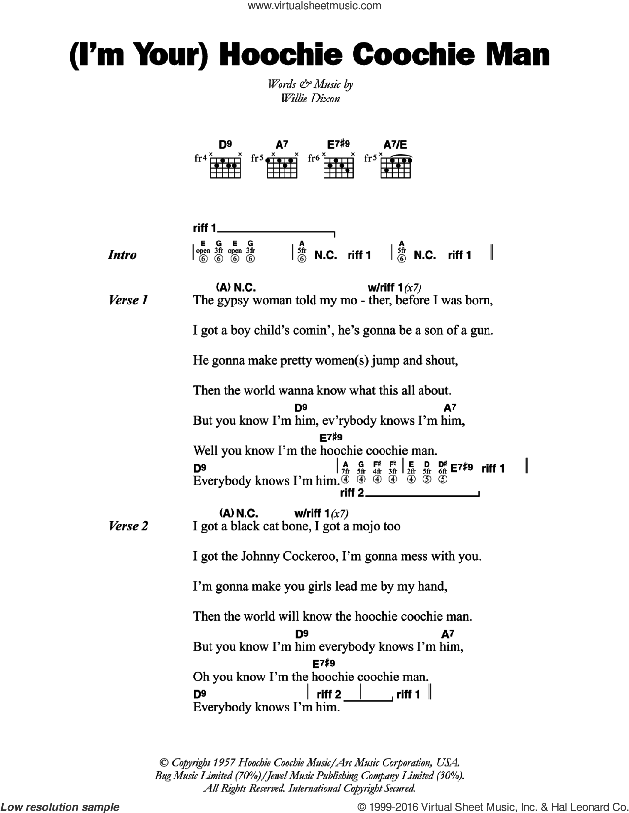 (I'm Your) Hoochie Coochie Man sheet music for guitar (chords) by Willie Dixon and Muddy Waters. Score Image Preview.