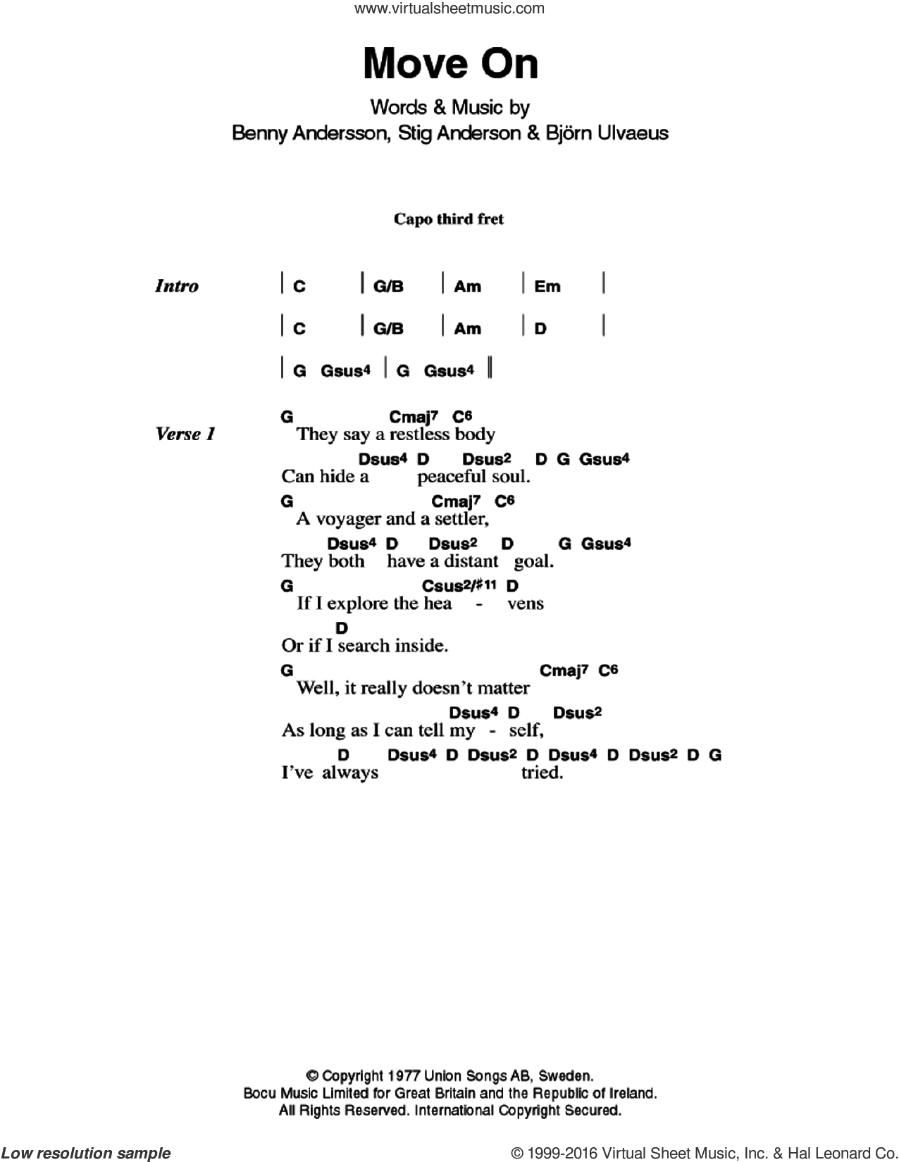 Move On sheet music for guitar (chords) by ABBA, Benny Andersson, Bjorn Ulvaeus and Stig Anderson, intermediate. Score Image Preview.