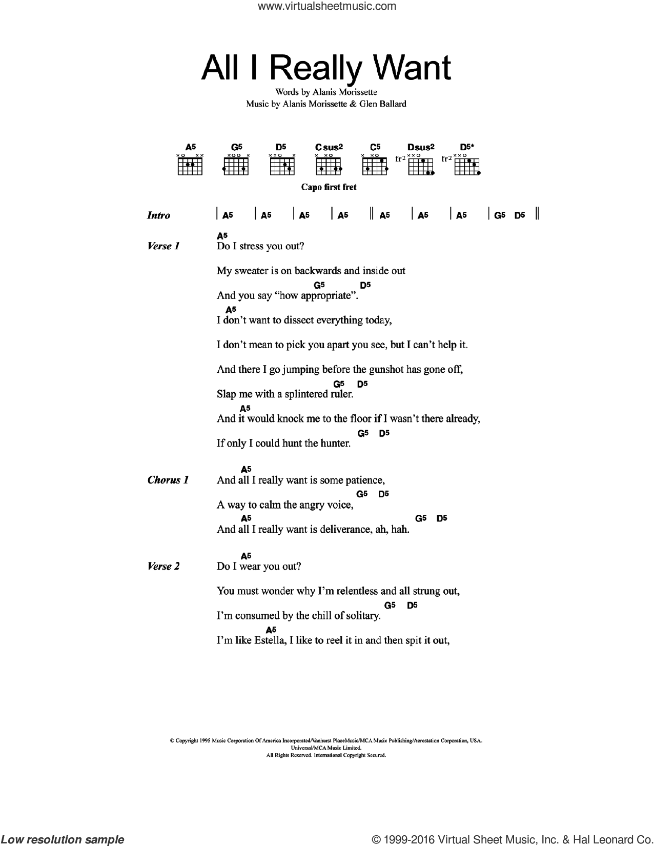 All I Really Want sheet music for guitar (chords) by Alanis Morissette and Glen Ballard, intermediate skill level