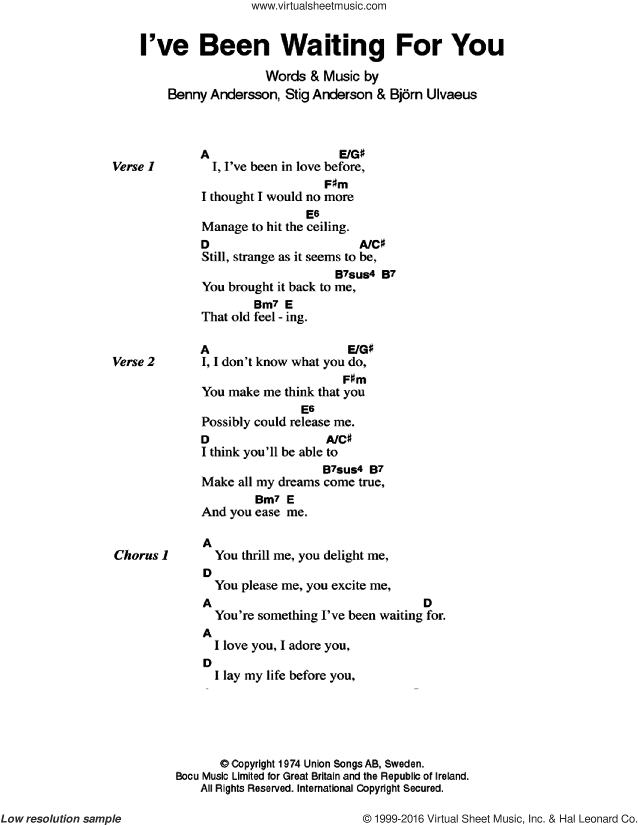 Abba Ive Been Waiting For You Sheet Music For Guitar Chords