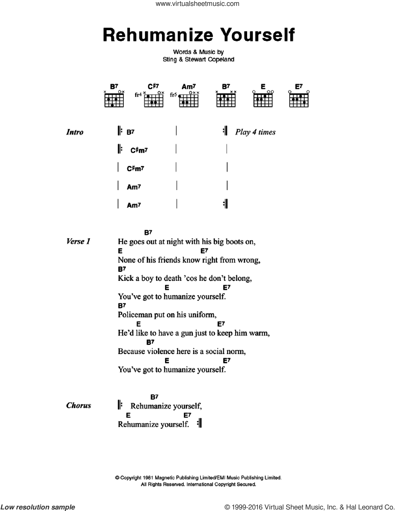 Rehumanize Yourself sheet music for guitar (chords) by Sting, The Police and Stewart Copeland. Score Image Preview.